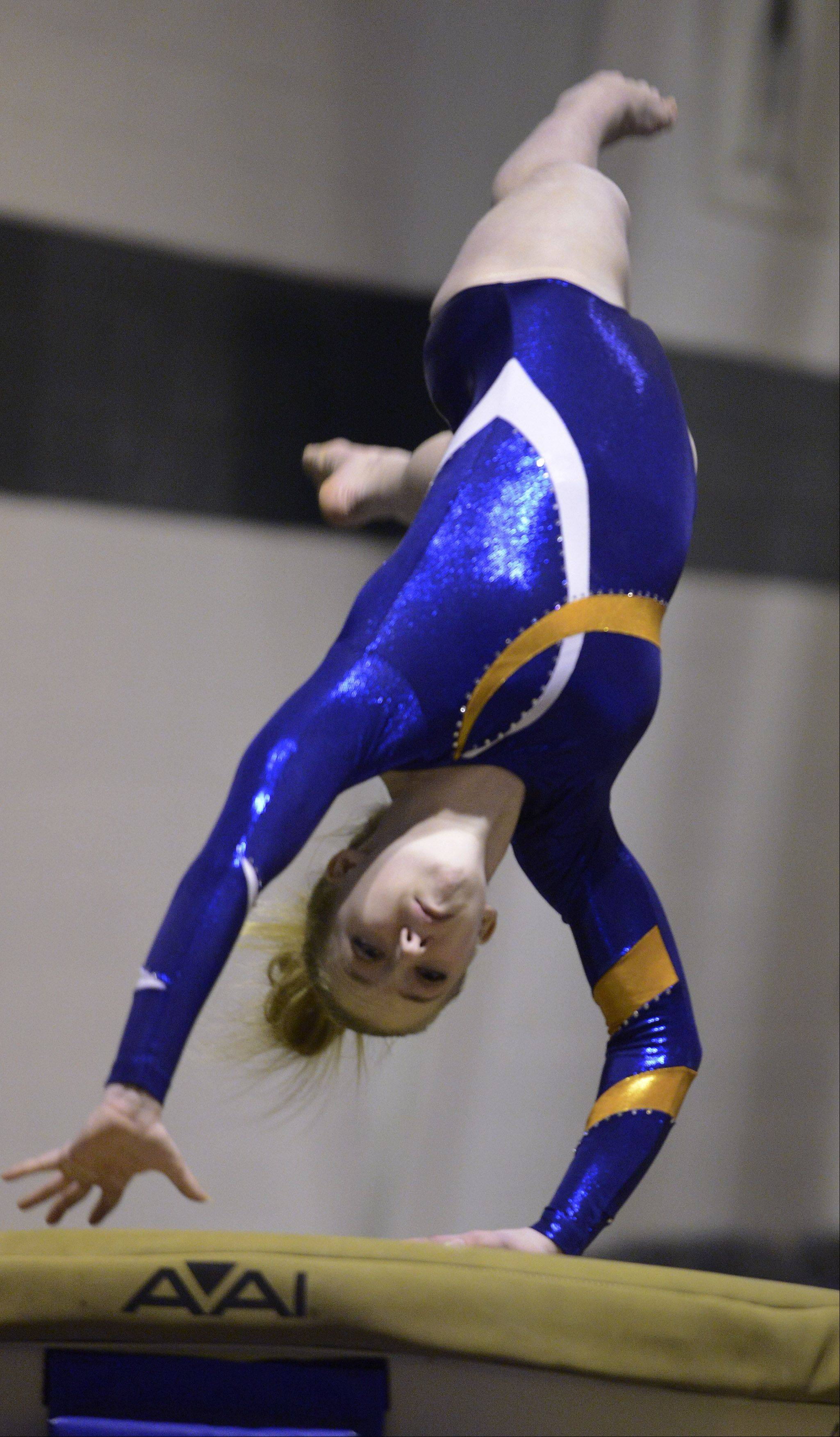 Buffalo Grove's Diandra Duenser competes on vault during Wednesday's meet with Prospect and Elk Grove.