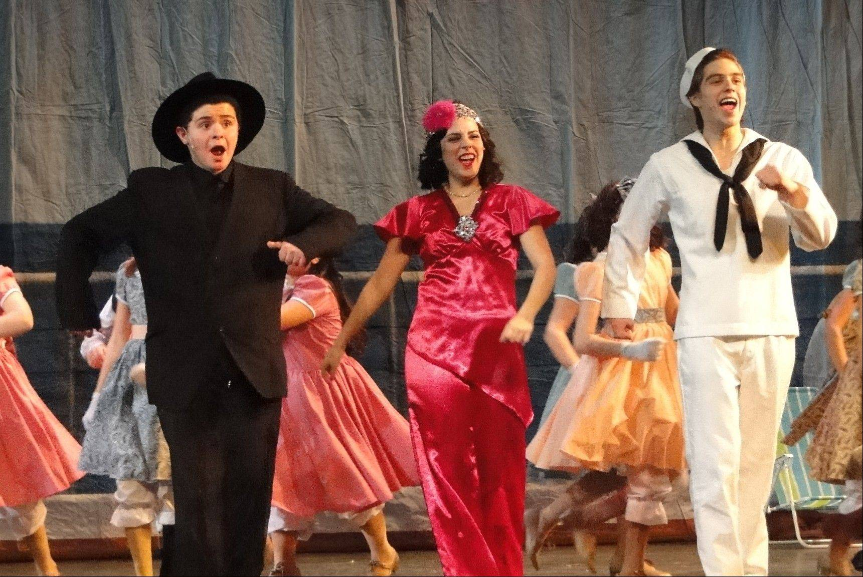 "Performing ""Friendship"" are, from left, Anthony Irsuto as Moonface Martin, Paige Brantley as Reno Sweeney and RJ Cecott as Billy Crocker. Schaumburg on Stage is producing the Broadway musical ""Anything Goes"" at Schaumburg Prairie Center for the Arts."