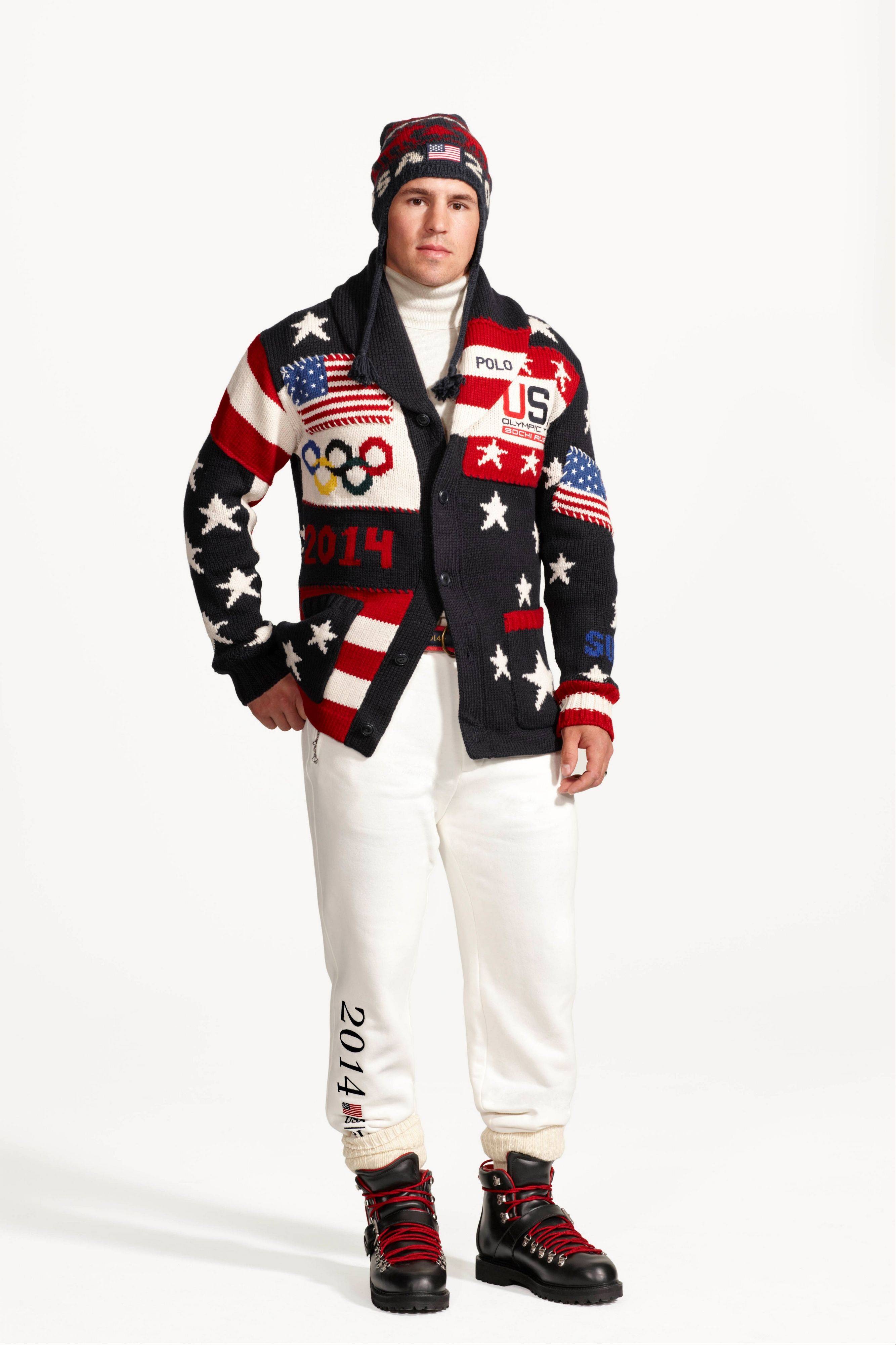 This product image released by Ralph Lauren shows American hockey player Zach Parise wearing the official uniform for Team USA to be worn at the opening ceremony for the 2014 Winter Olympic games in Sochi, Russia.