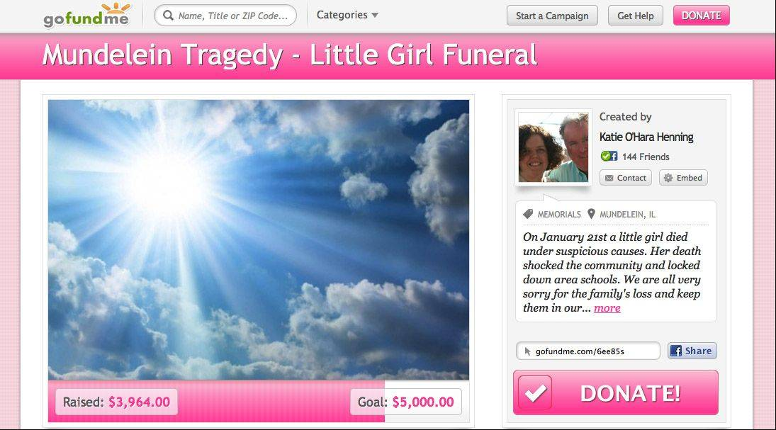 A fundraising Web page has been set up for the family of the murdered Mundelein girl to help offset funeral costs.