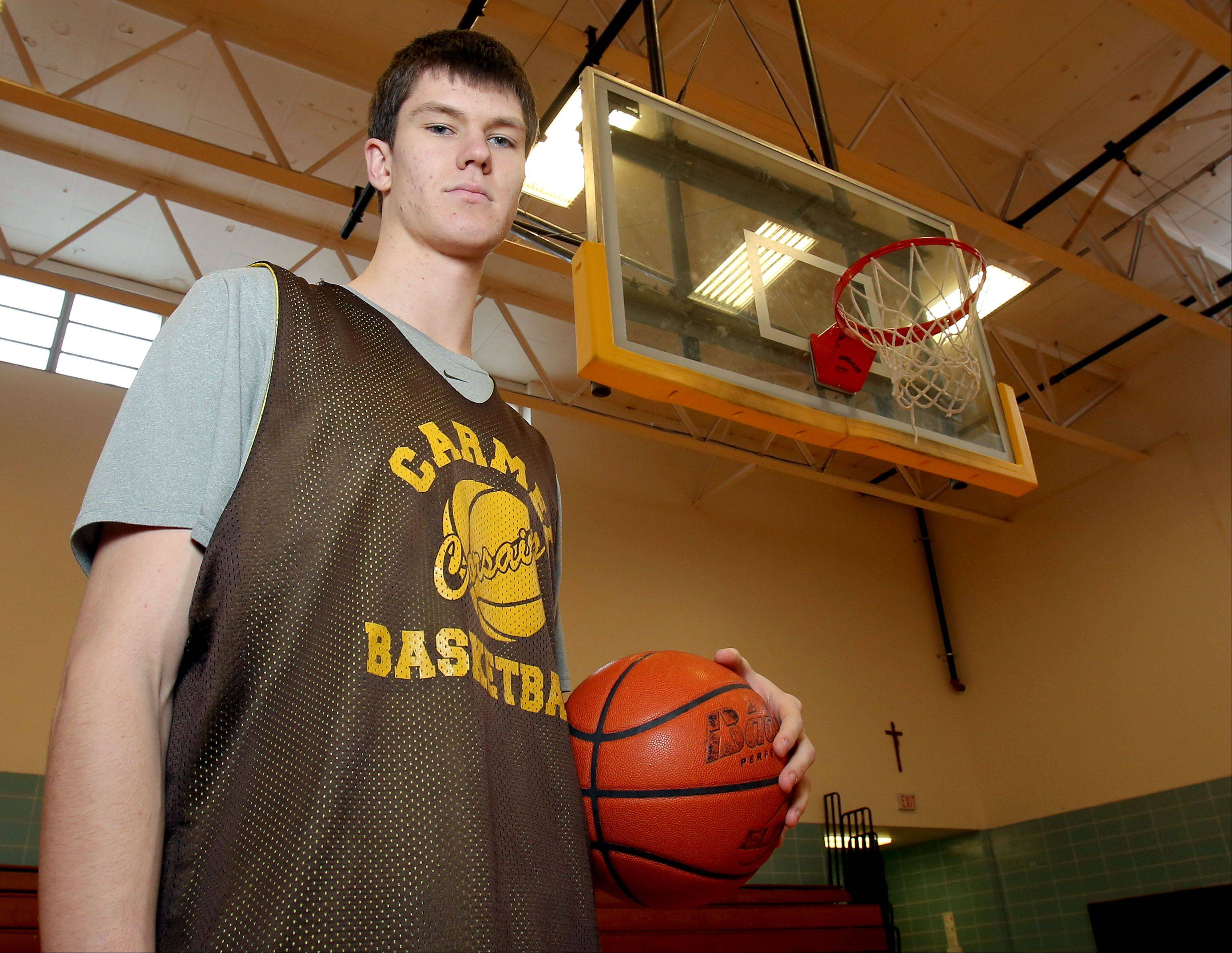 Carmel�s 6-foot-10 center Jack George has helped Carmel to a 17-3 record and one of its best seasons in years.