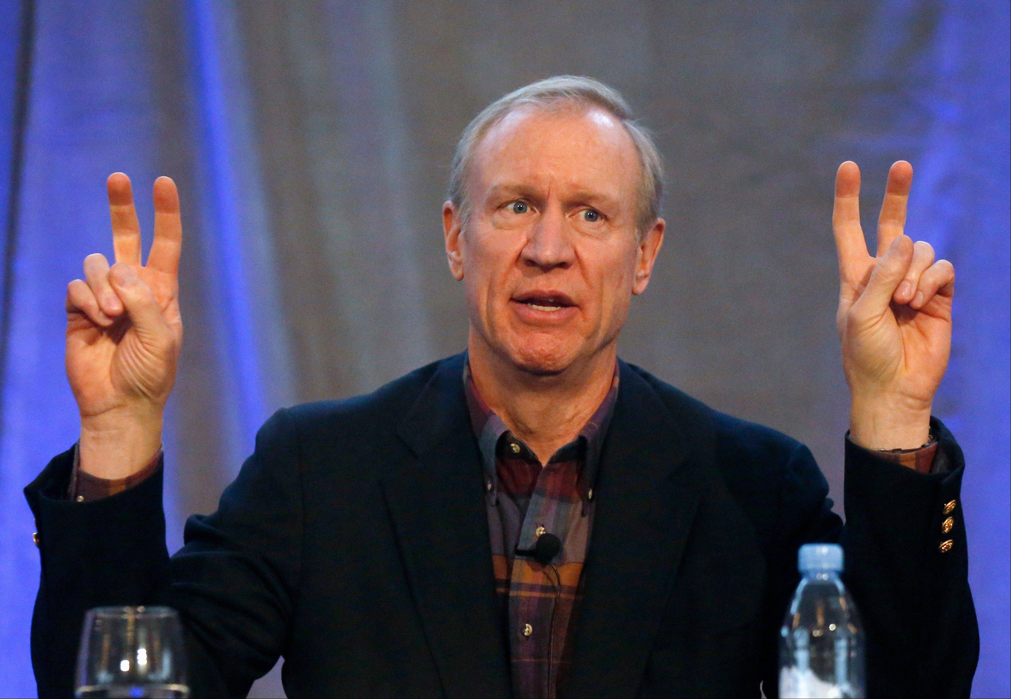 Businessman Bruce Rauner, a Republican candidate for Illinois governor, says labor unions are scared of his platform.
