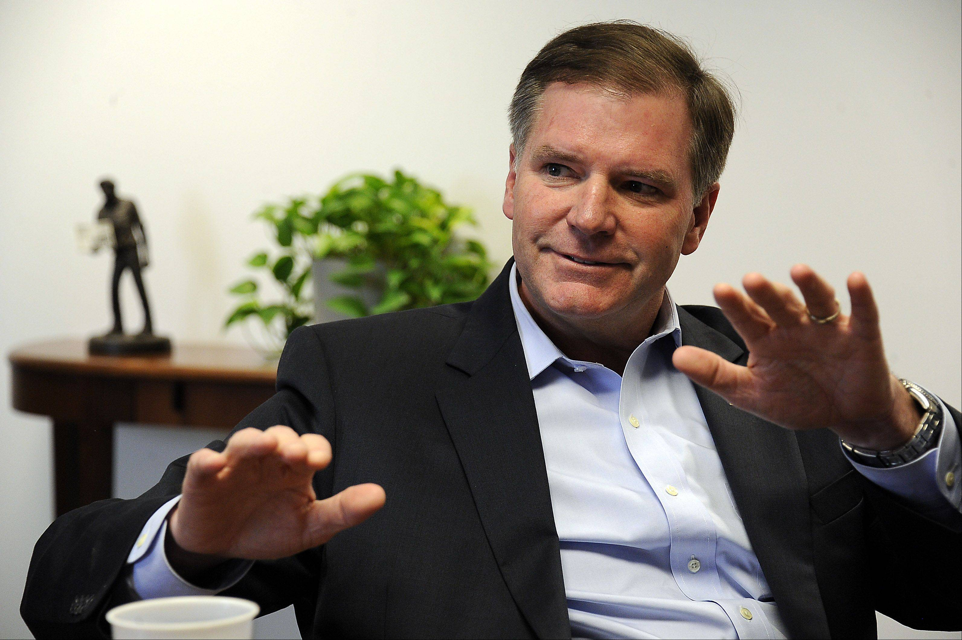 State Sen. Bill Brady, a Republican candidate for governor, met Wednesday with the Daily Herald Editorial Board.