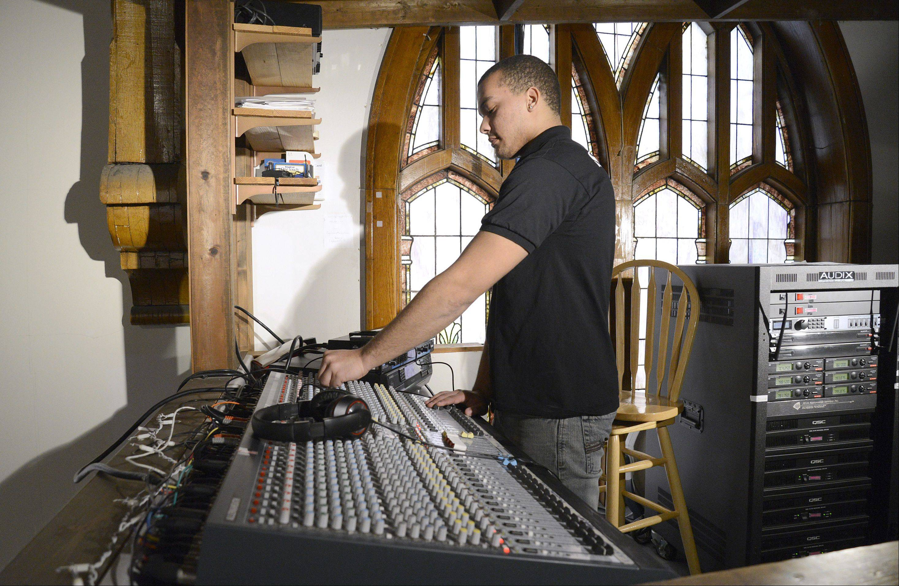 Breje Whitt, 17, operates the sound board at Family Life Church in Elgin. After spending time touring with a nationally renowned Christian rock band, Breje has returned home to Elgin and launched his own sound/lighting/DJ business called Diamond Cut Productions.