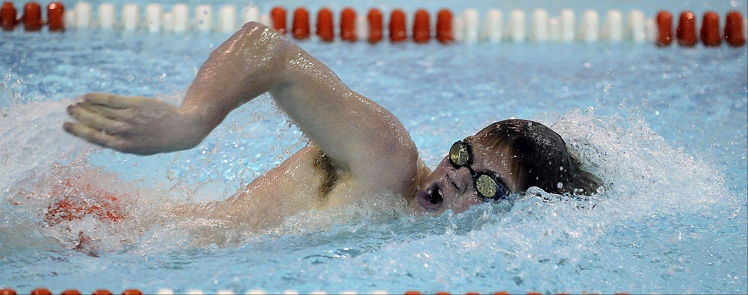 Hersey's David Kuntz powers to a win in the 200 yard freestyle race against visting Rolling Meadows on Thursday.