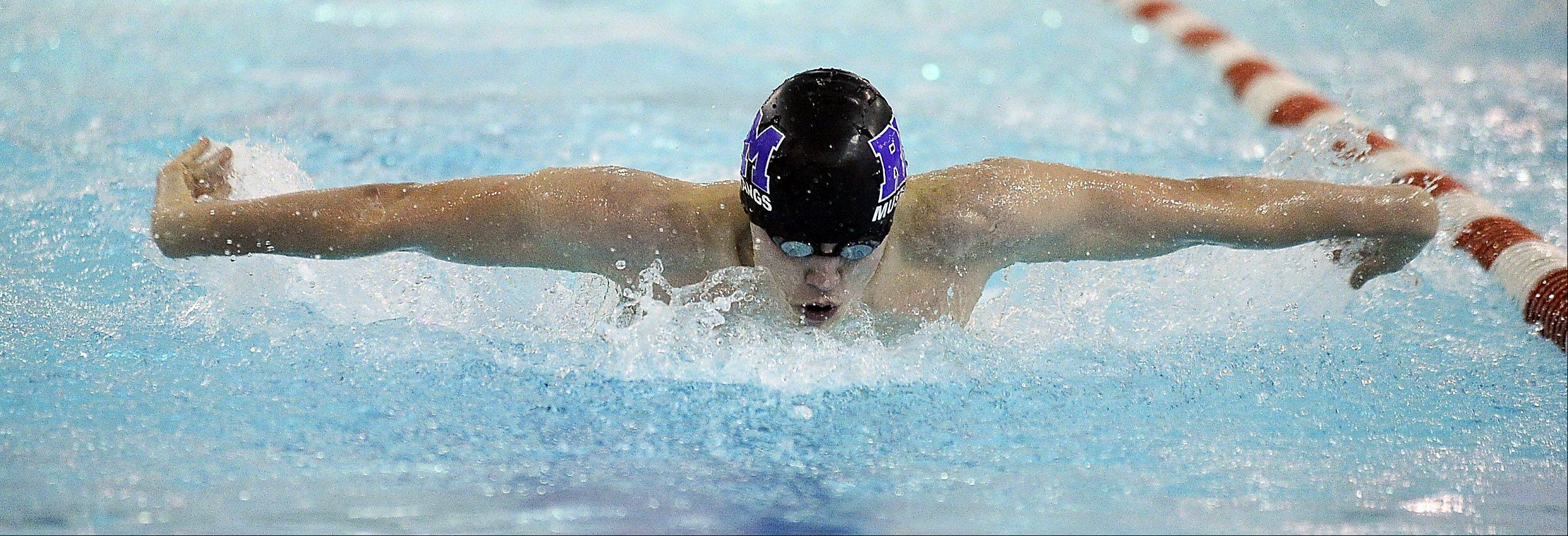 Rolling Meadows' Filip Pancerz surges to a win in the 100-yard butterfly Thursday against host Hersey.