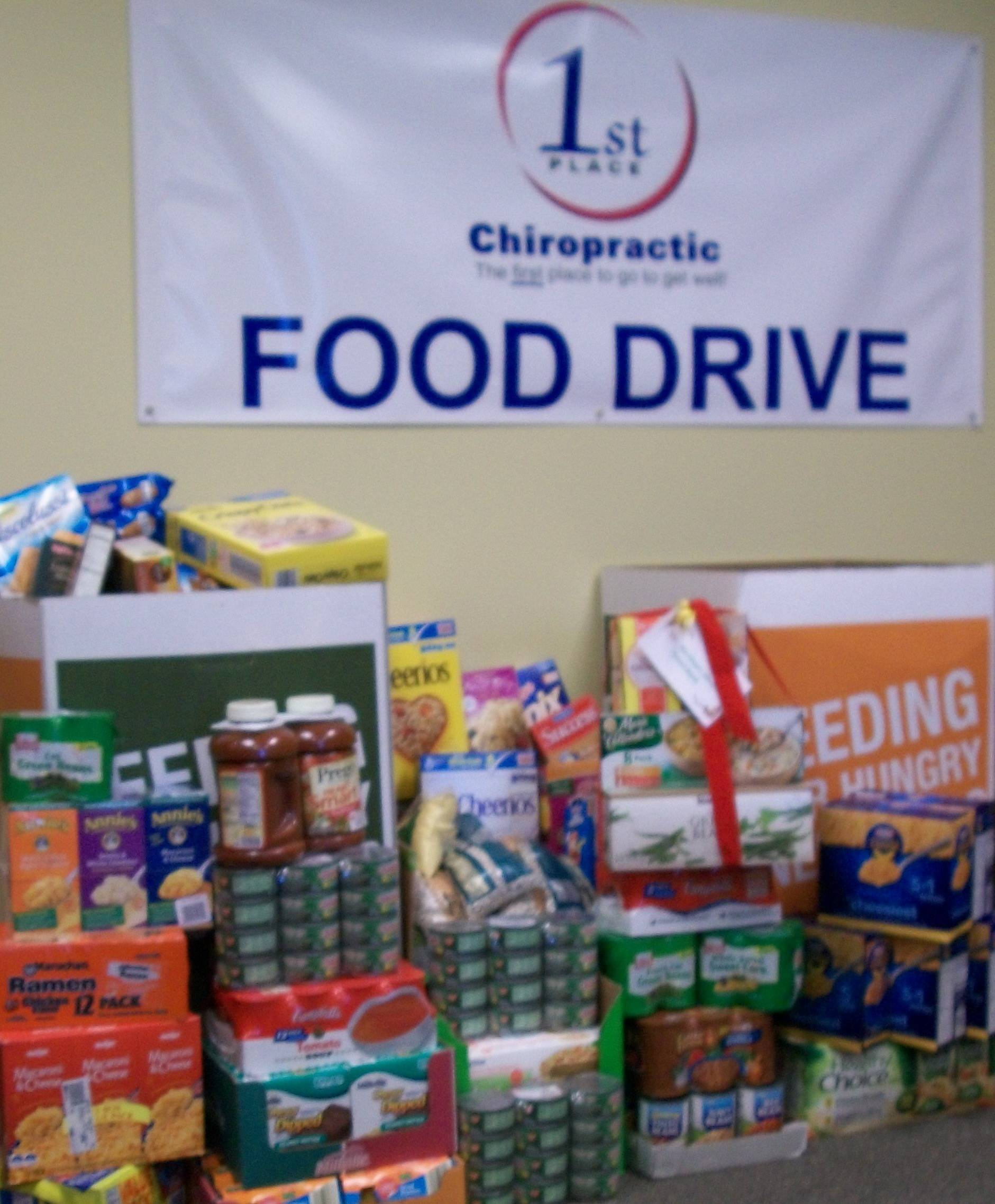 1st Place Chiropractic food drive for the Northern Illinois Food Bank in Geneva, IL