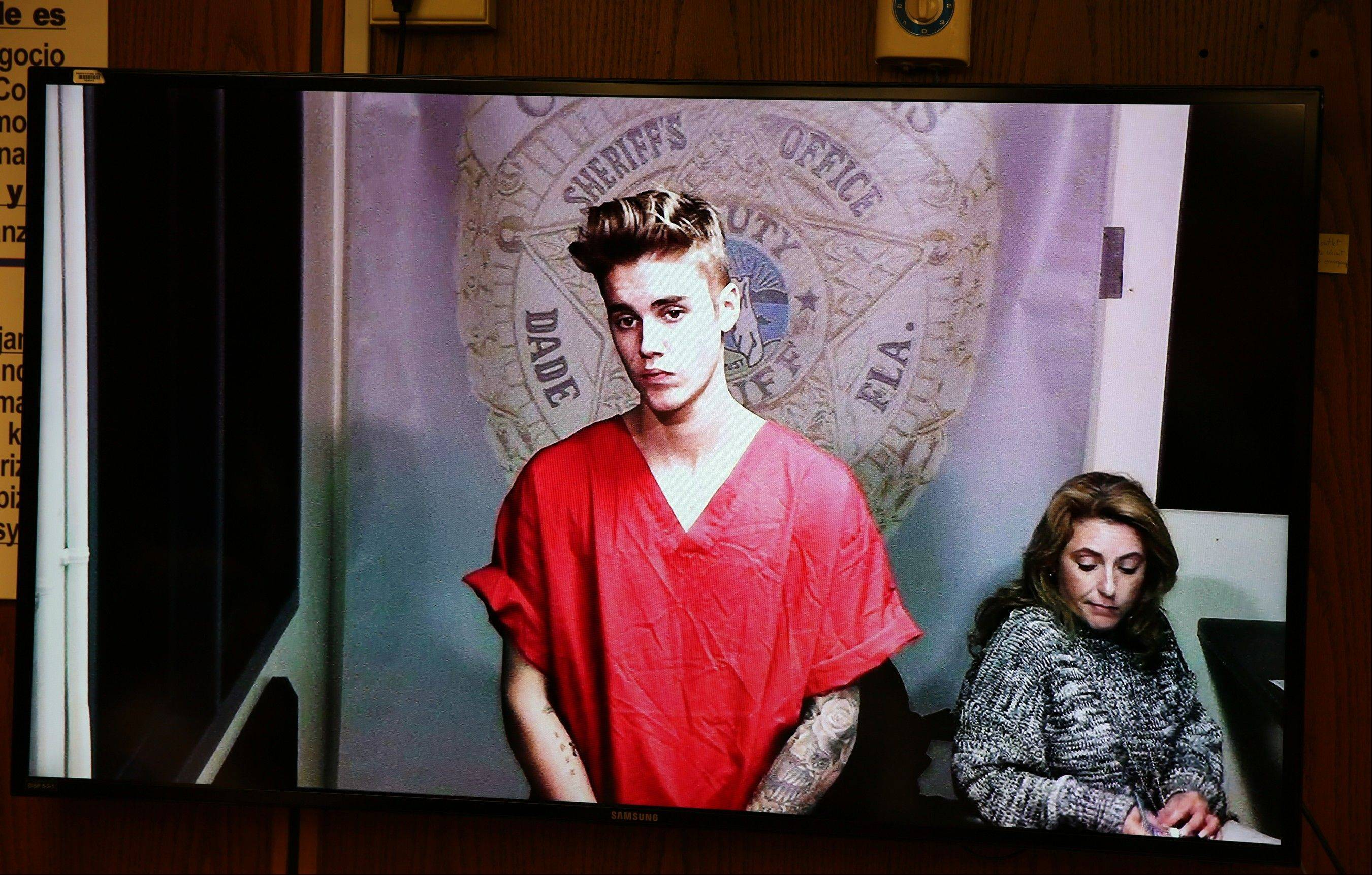 Justin Bieber appears in court via video feed Thursday in Miami. Bieber was released from jail Thursday following his arrest on charges of driving under the influence, driving with an expired license and resisting arrest. Police say they stopped the 19-year-old pop star while he was drag-racing down a Miami Beach street before dawn.