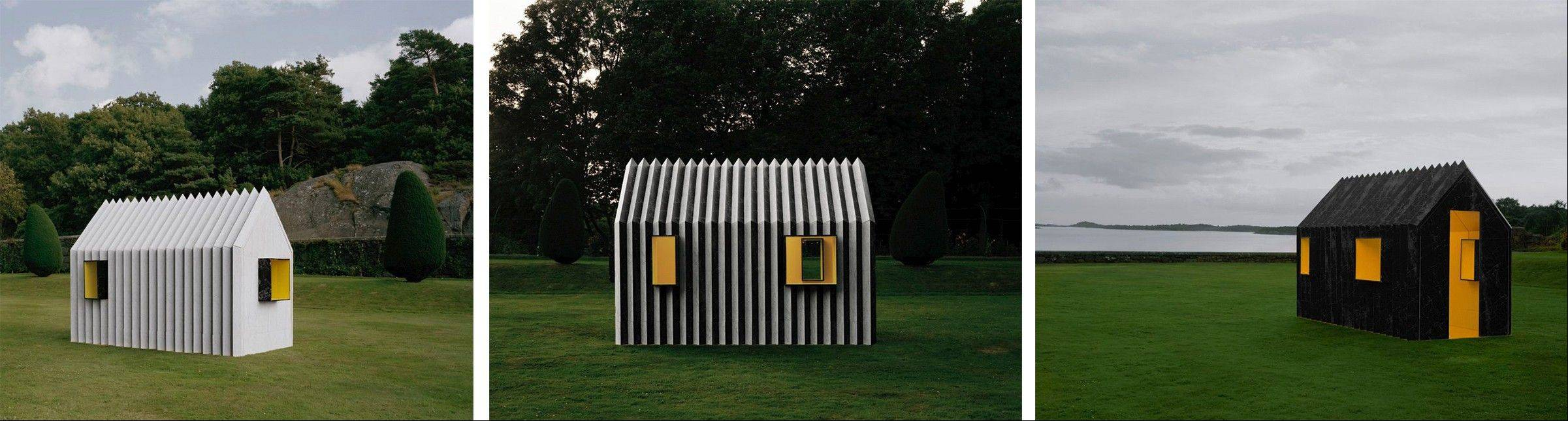 Mattias Lind designed this little shack in Gothenburg, Sweden, whose facade is covered in glossy black-and-white marbled corrugated paper not even an inch thick.