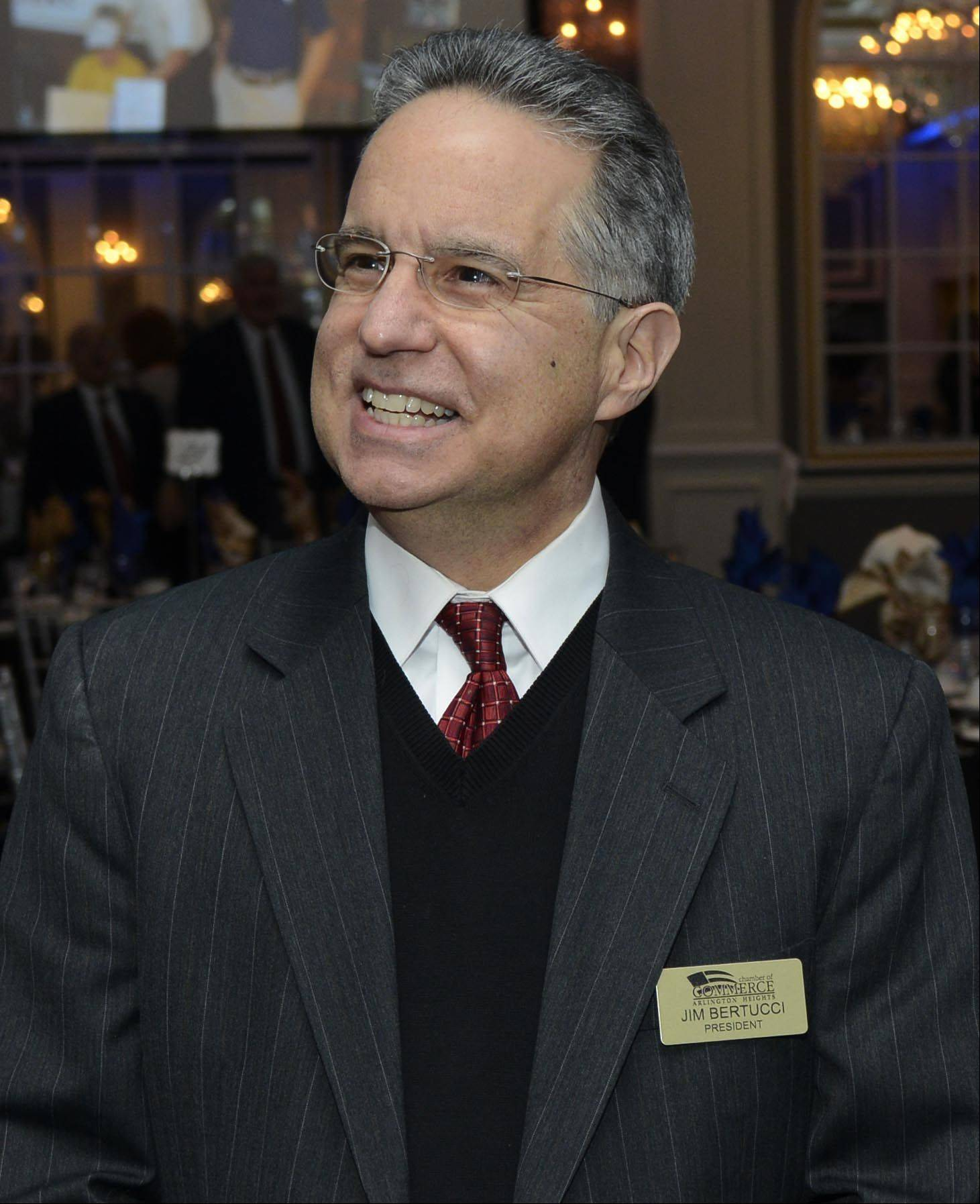 Jim Bertucci, who is the new president of the Arlington Heights Chamber of Commerce, chats with guests prior to the Arlington Heights Chamber of Commerce Installation Dinner/Awards at European Crystal Banquets in Arlington Heights Thursday.