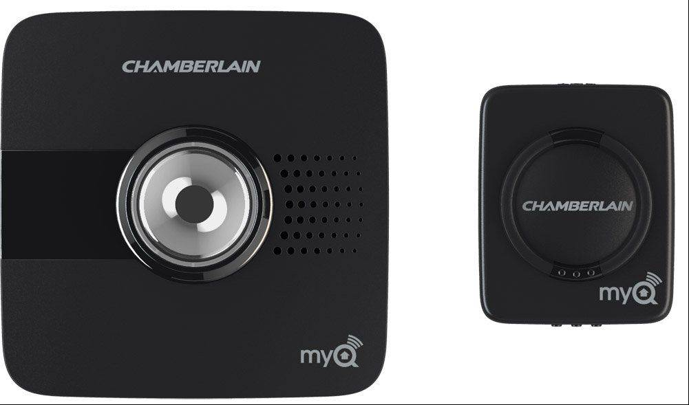 MyQ Garage, which works with your smartphone, includes this Wi-Fi hub, the large device at left, and a door sensor that goes on the garage door. Together, they cost $129, and work with any brand of garage door opener made after 1993.