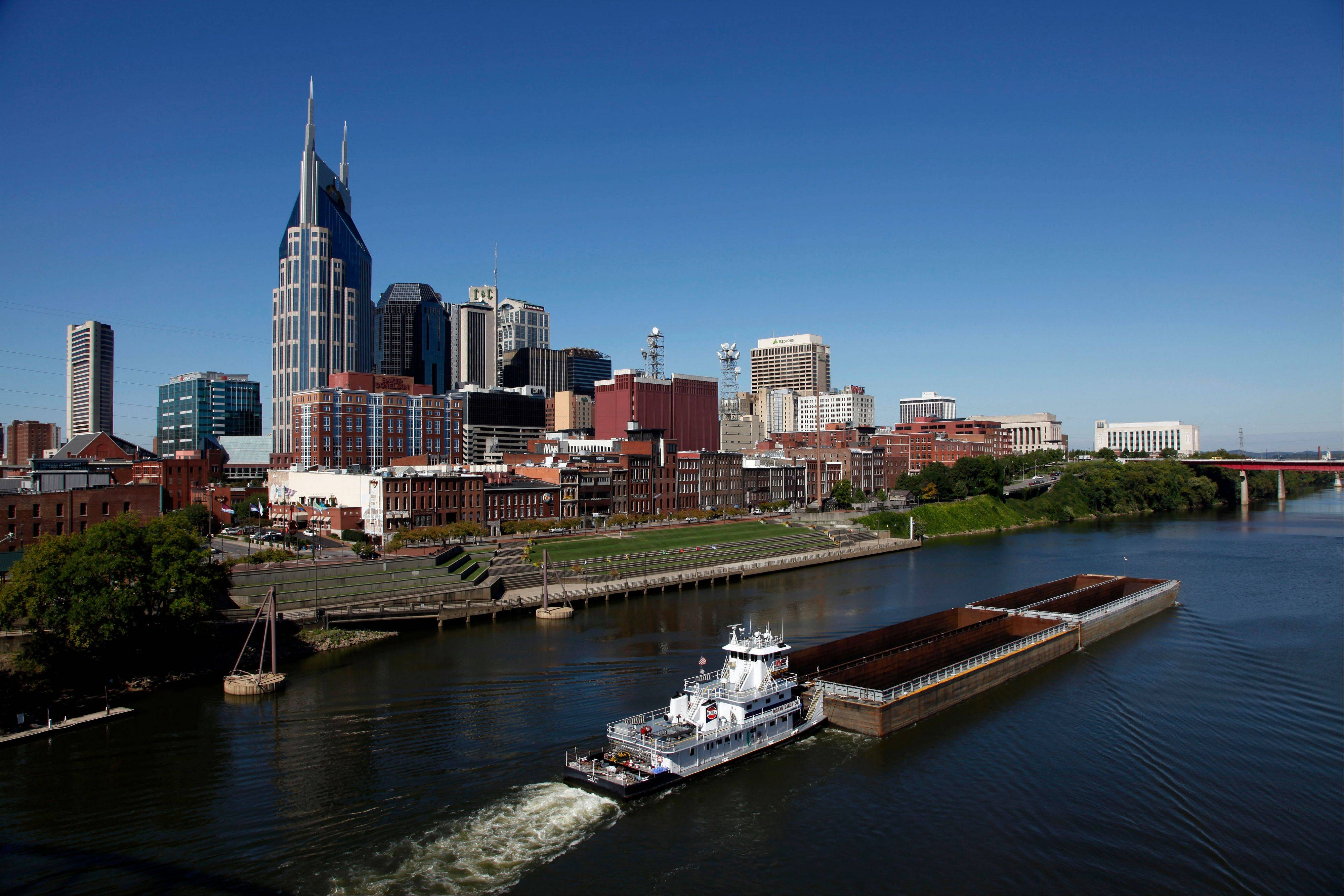 The banks of the Cumberland River and the bridges over it offer viewpoints for the Nashville, Tenn., skyline that inspired Bob Dylan to write a country album.
