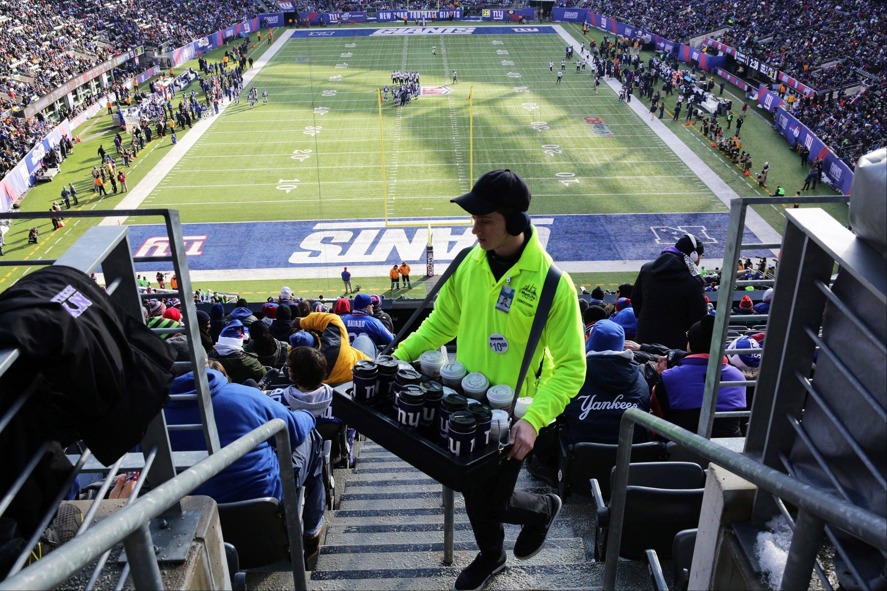 Despite all of the regional offerings at MetLife Stadium during the Super Bowl, vendors will still be roaming the stands selling hot dogs, beer and more.