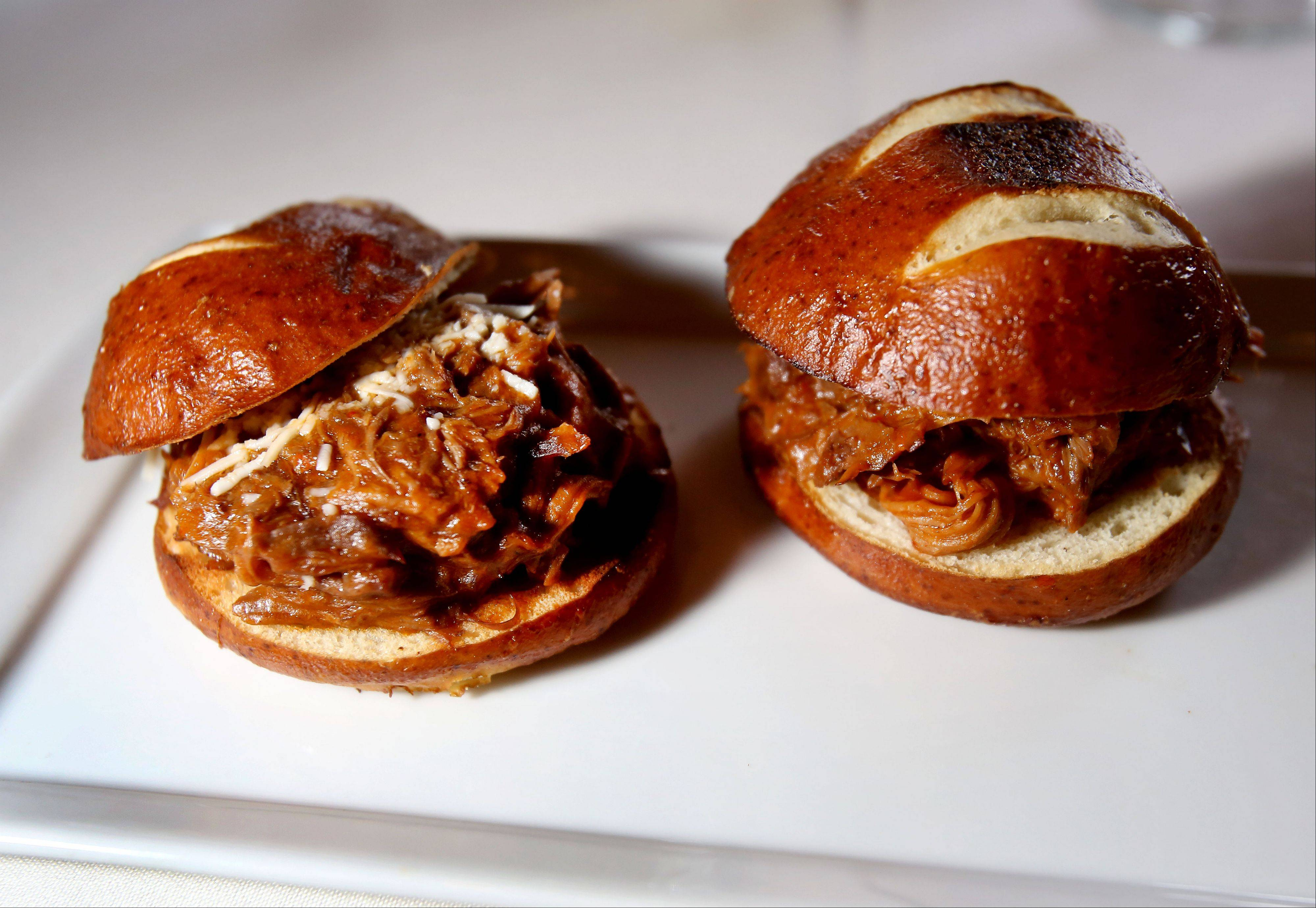Shredded lamb shank sliders are part of the $44 dinner menu at Basil's Greek Dining in Aurora.