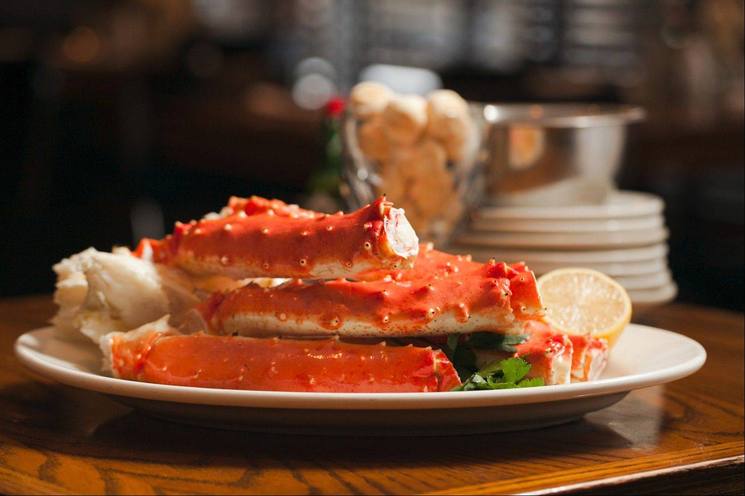 Steamed Alaskan red king crab legs are part of the three-course dinner menu offered by Shaw's Crab House for Chicago Restaurant Week 2014.