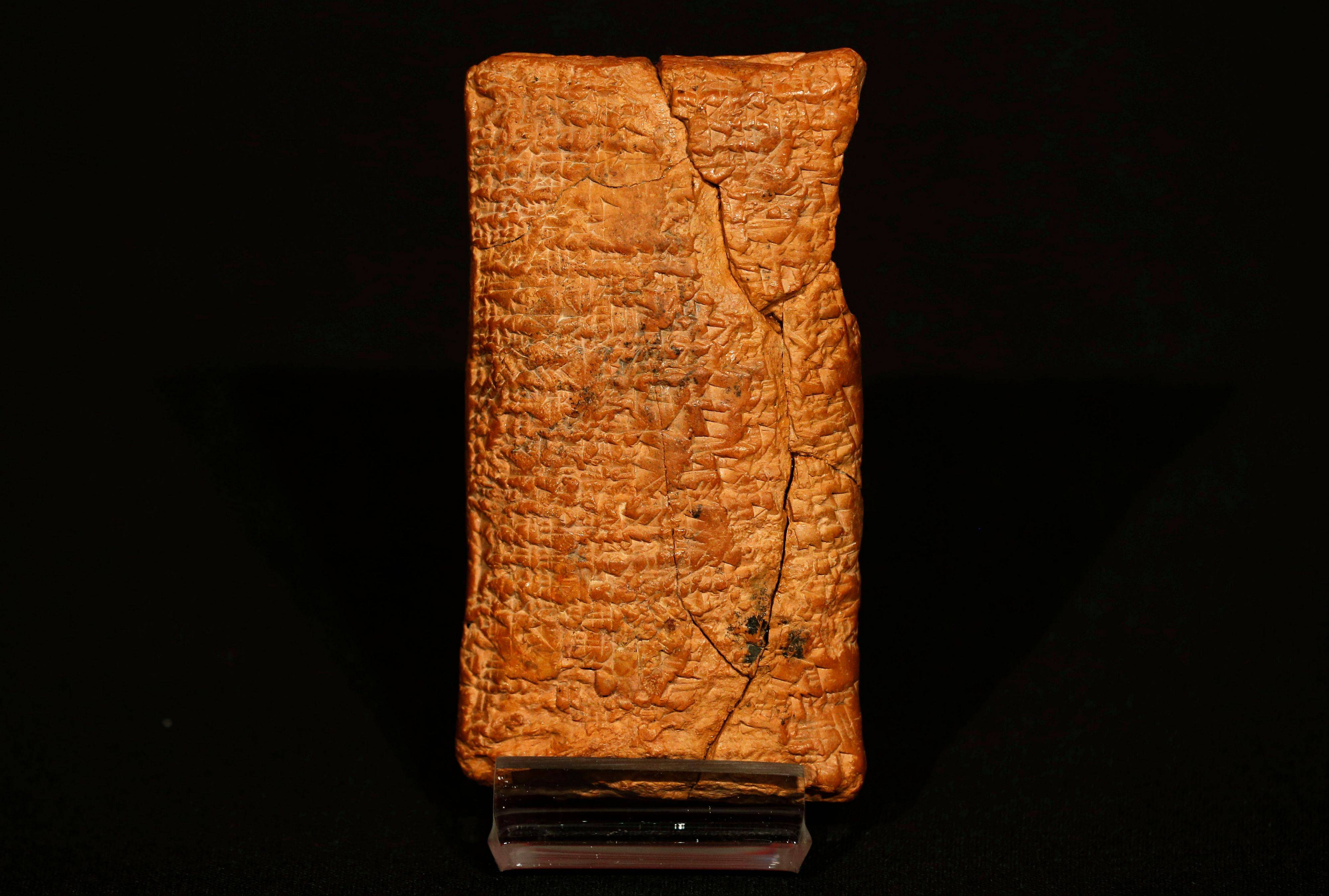 The 4000 year old clay tablet containing the story of the Ark and the flood.