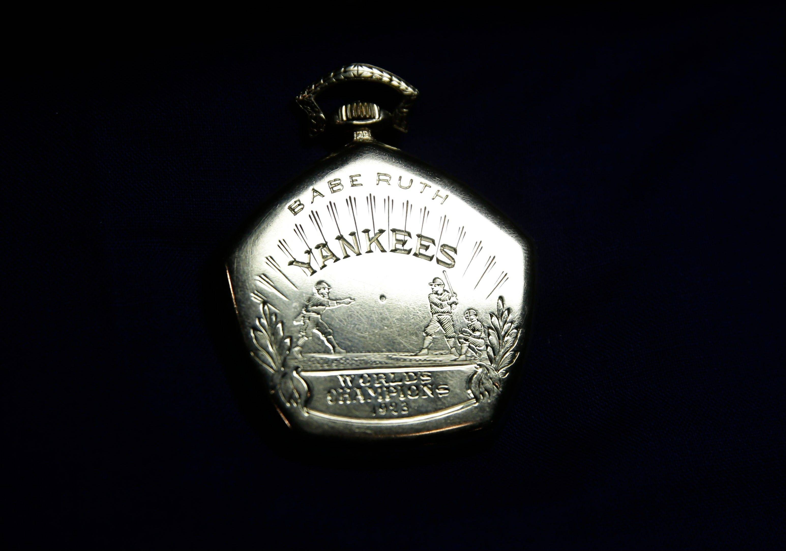A pocket watch that was given to Babe Ruth in 1923 at Heritage Auctions office in Dallas.
