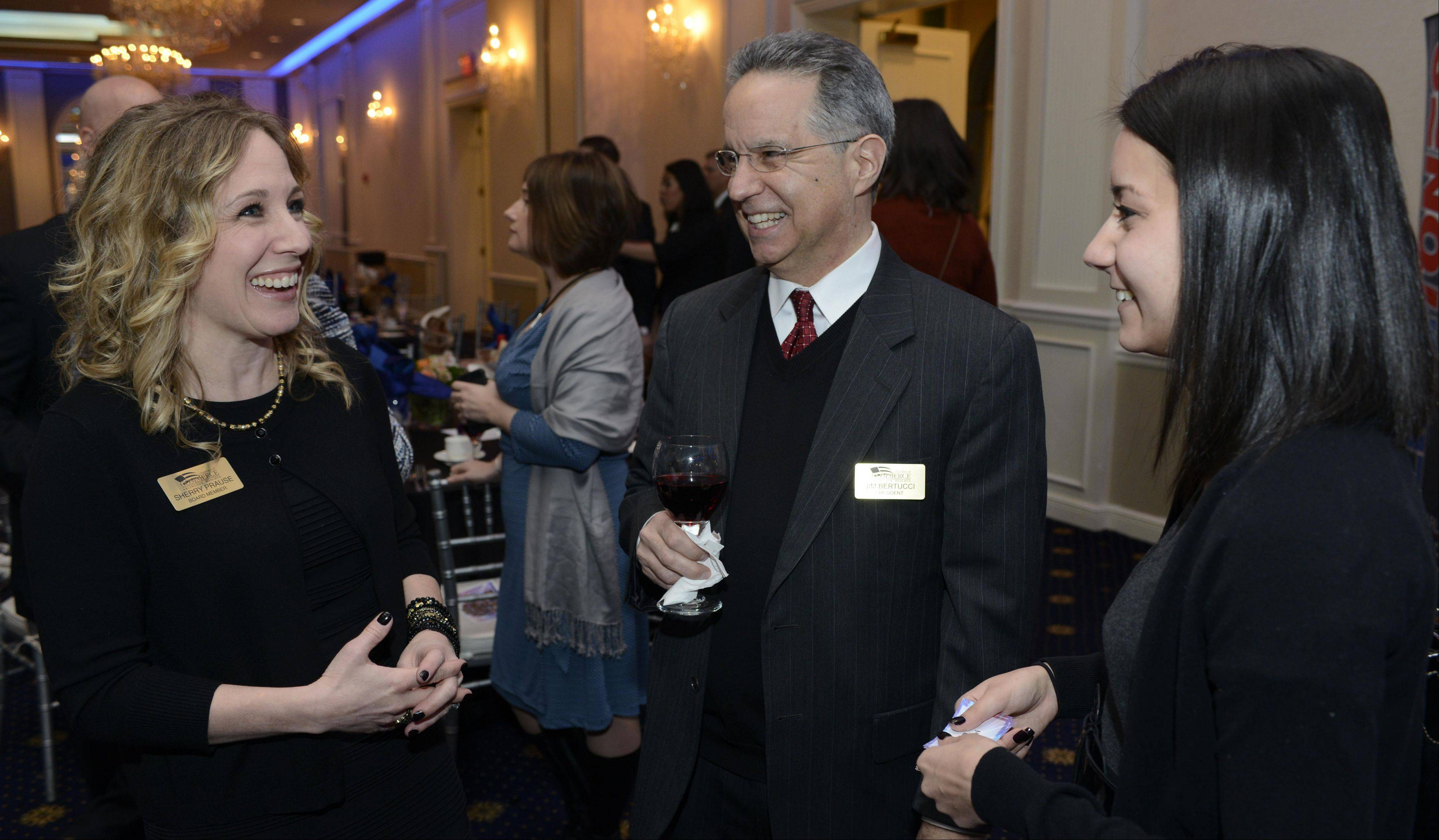 Arlington Heights Chamber of Commerce board member Sherry Prause, left, chats with new chamber President Jim Bertucci and his daughter, Kim Costello, during the chamber's installation dinner and awards ceremony Thursday at European Crystal Banquets in Arlington Heights.