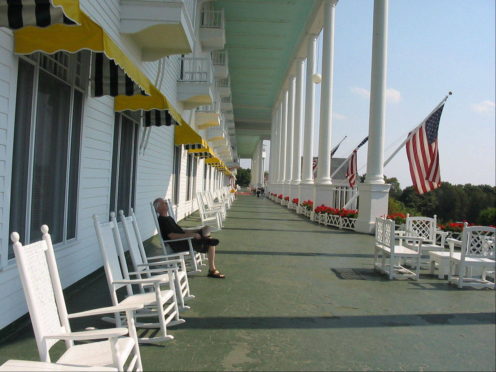 A man takes a cat nap on the front porch at the Grand Hotel on Mackinac Island on September 12, 2004.