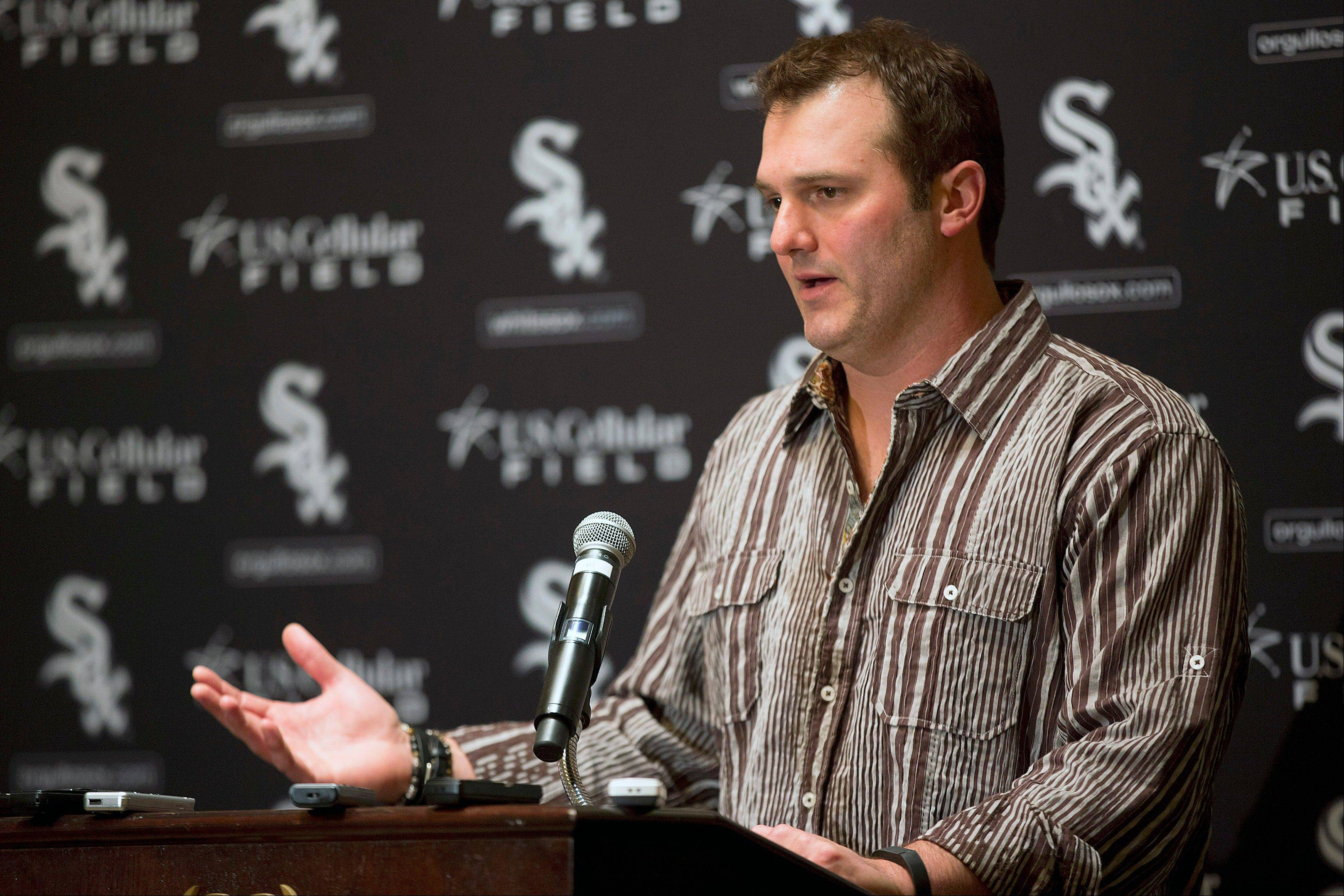 The Chicago White Sox's Paul Konerko speaks during the SoxFest annual fan convention Friday in Chicago.