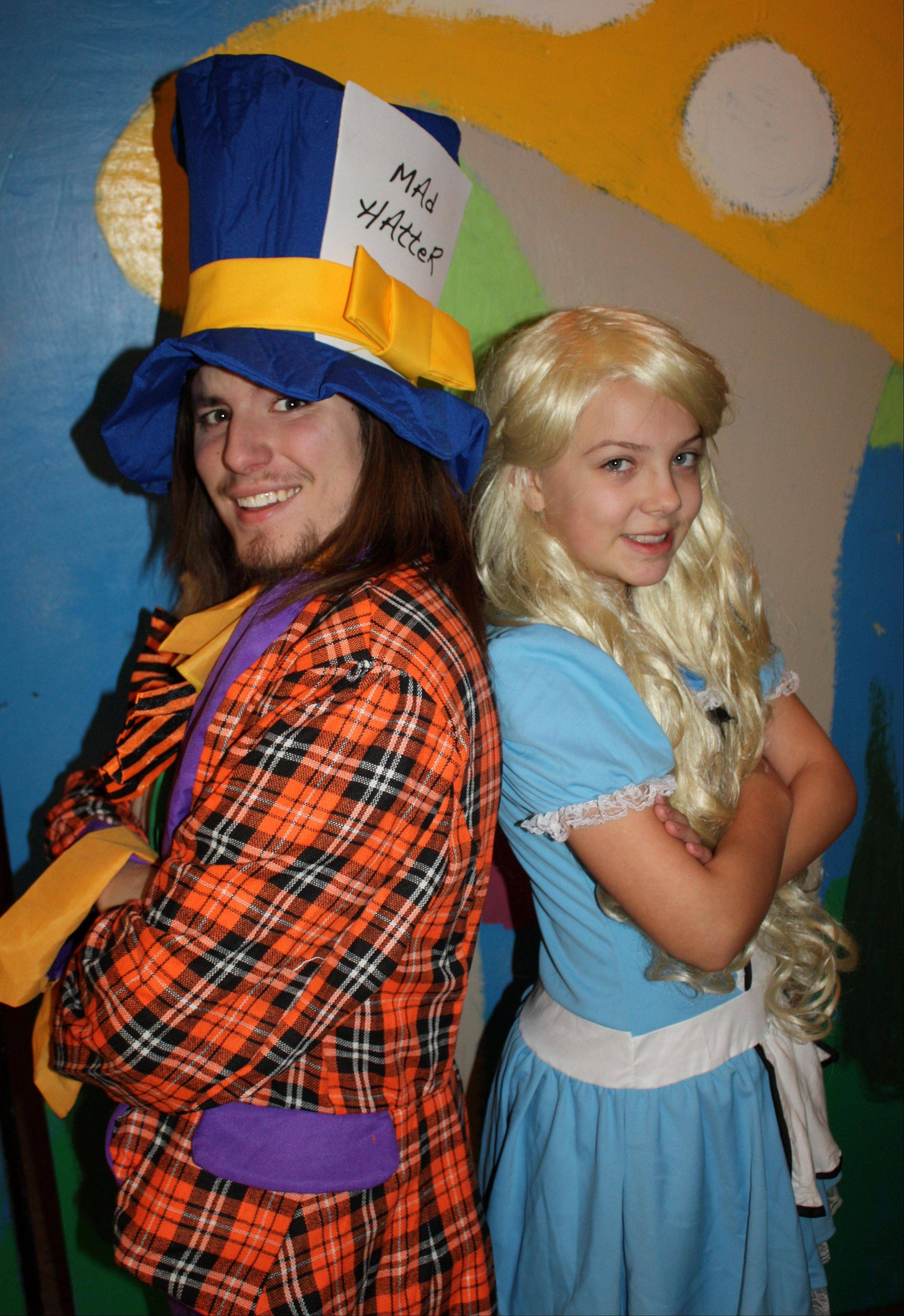 Matt Goodmanson of Arlington Heights as the Mad Hatter and Jodie Lloyd of Itasca as Alice.