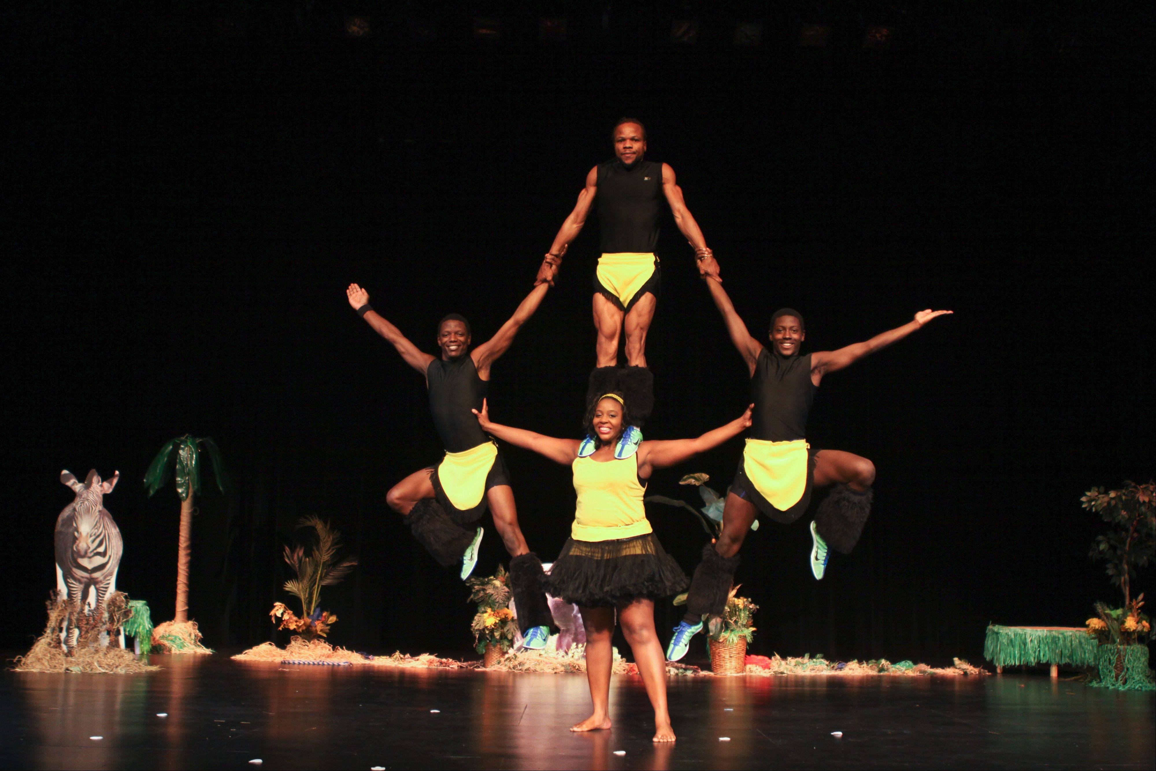 A human pyramid is just one of the incredible stunts that will be performed by the Kenya Safari Acrobats on Tuesday, Feb. 4, at Harper College.