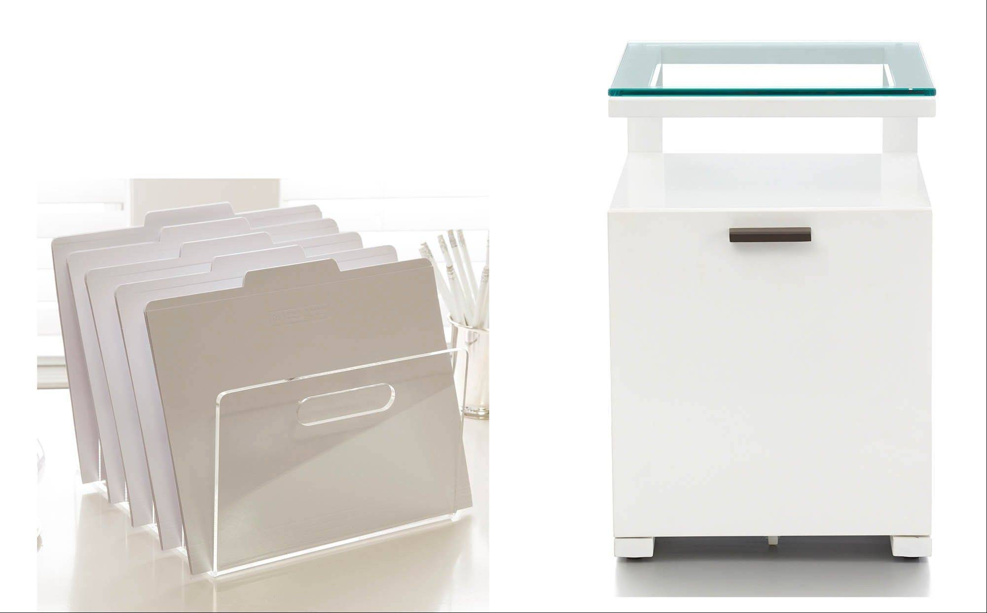 Places to store papers in your home office: left, Russell + Hazel�s acrylic collator, available at See Jane Work; right, the Pilsen Salt Filing Cabinet from Crate &Barrel.