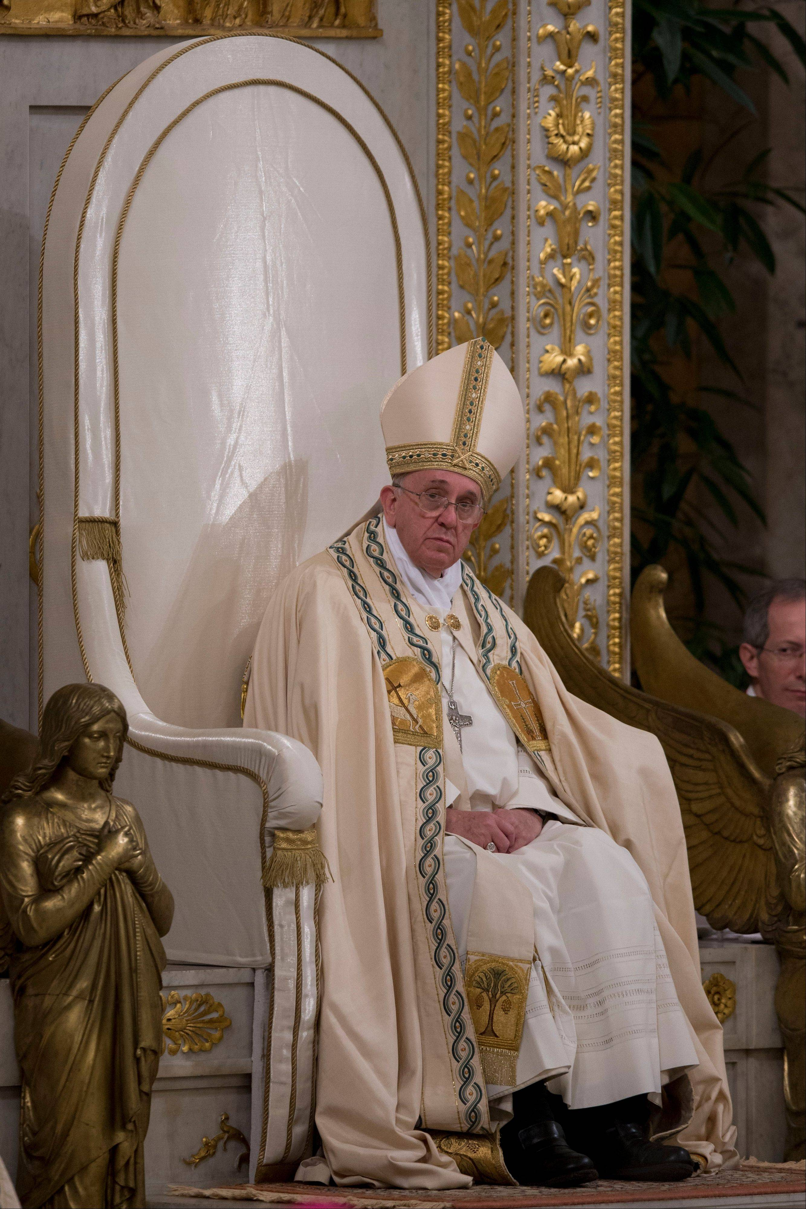 Pope Francis presides over a Vespers ceremony Saturday at Rome's St. Paul Basilica, at the Vatican.