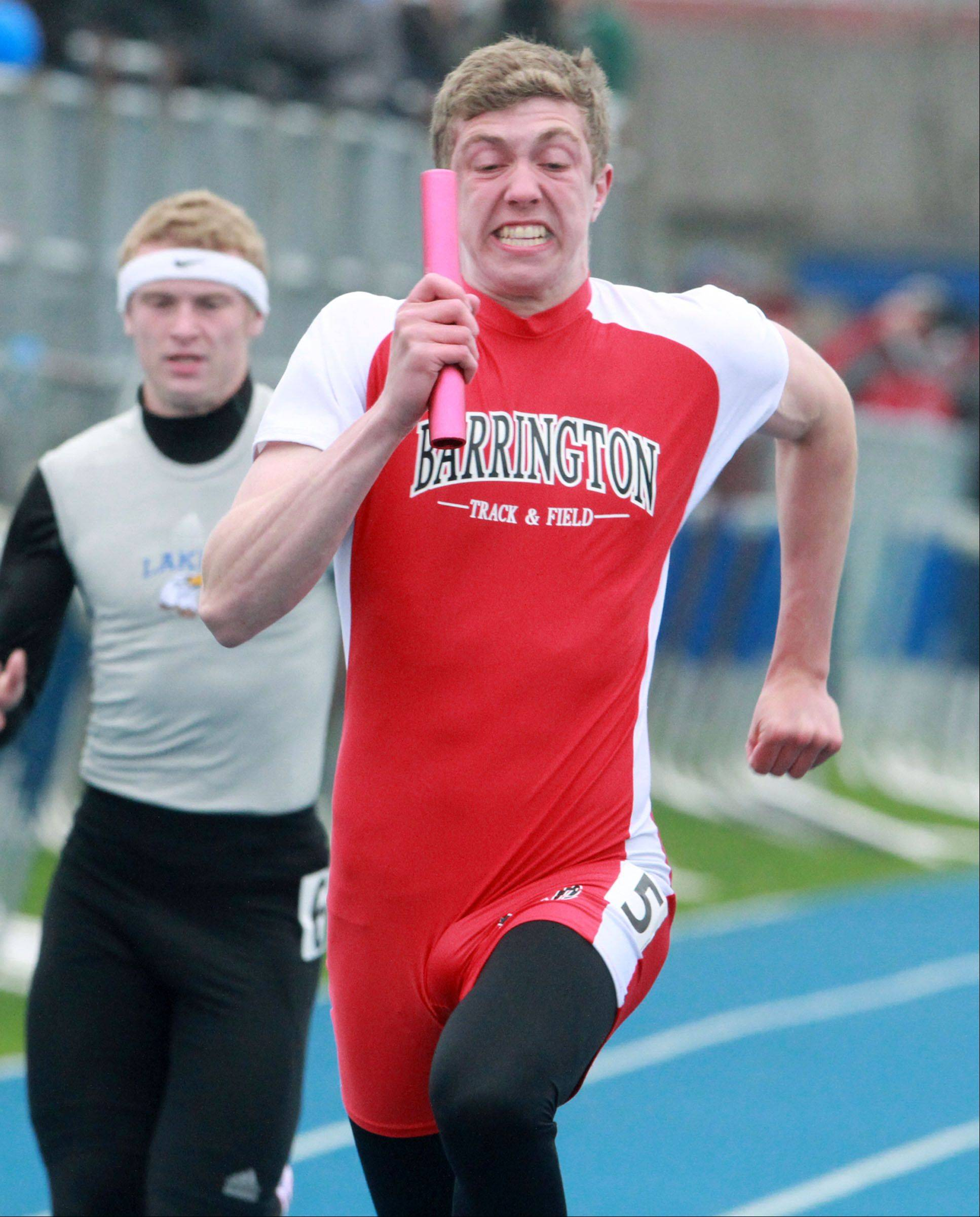 Parker DeLoye runs the last leg as Barrington wins the 4 x 100-meter relay in last spring�s Lake County meet at Lake Zurich. DeLoye has committed to a track and field future at Kentucky.