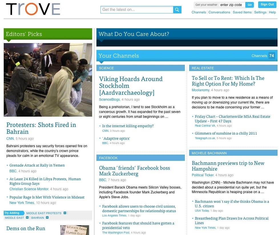 Trove, a new social reader, tries to tailor curated content.
