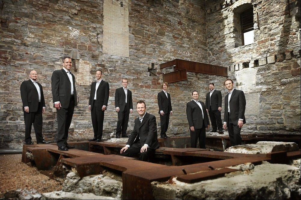 The nine-member male vocal ensemble Cantus performs in Wheaton College's Edman Memorial Chapel.