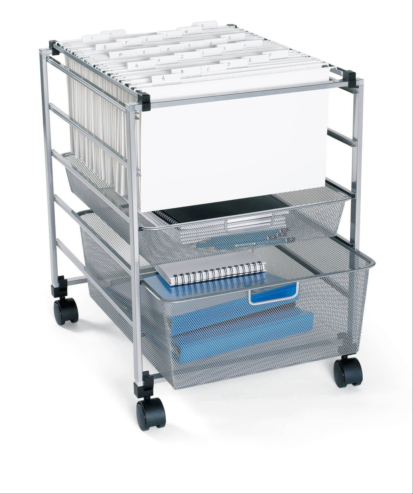 filing carts with casters can be moved easily, which comes in handy if your work space cart is in a kitchen or living room area. Consider the Elfa Mesh File Cart from the Container Store.