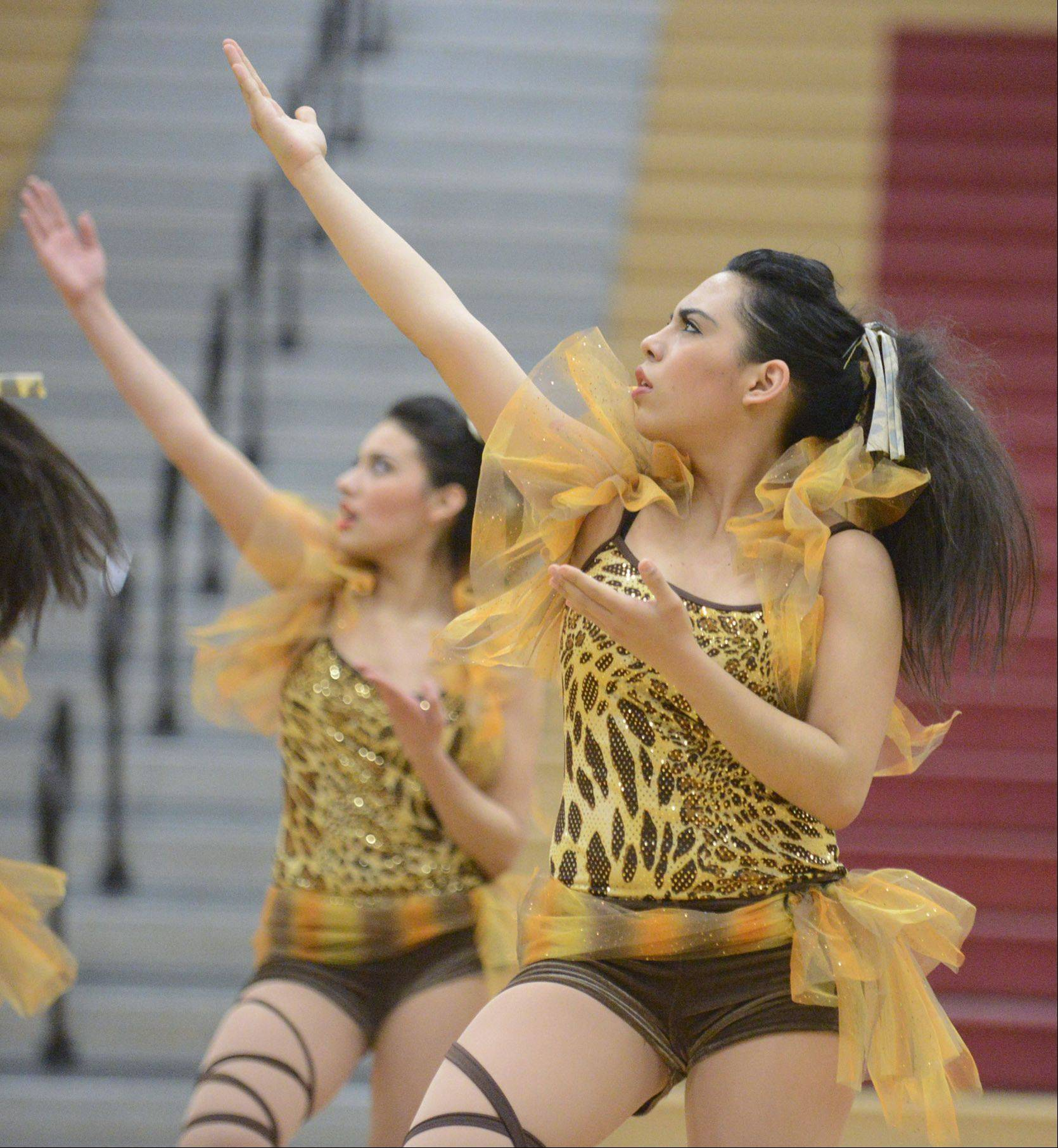 Frida Barrera, 16, performs with Elgin High School at the IHSA 3A competitive dance sectionals at Huntley High School on Saturday, January 25.