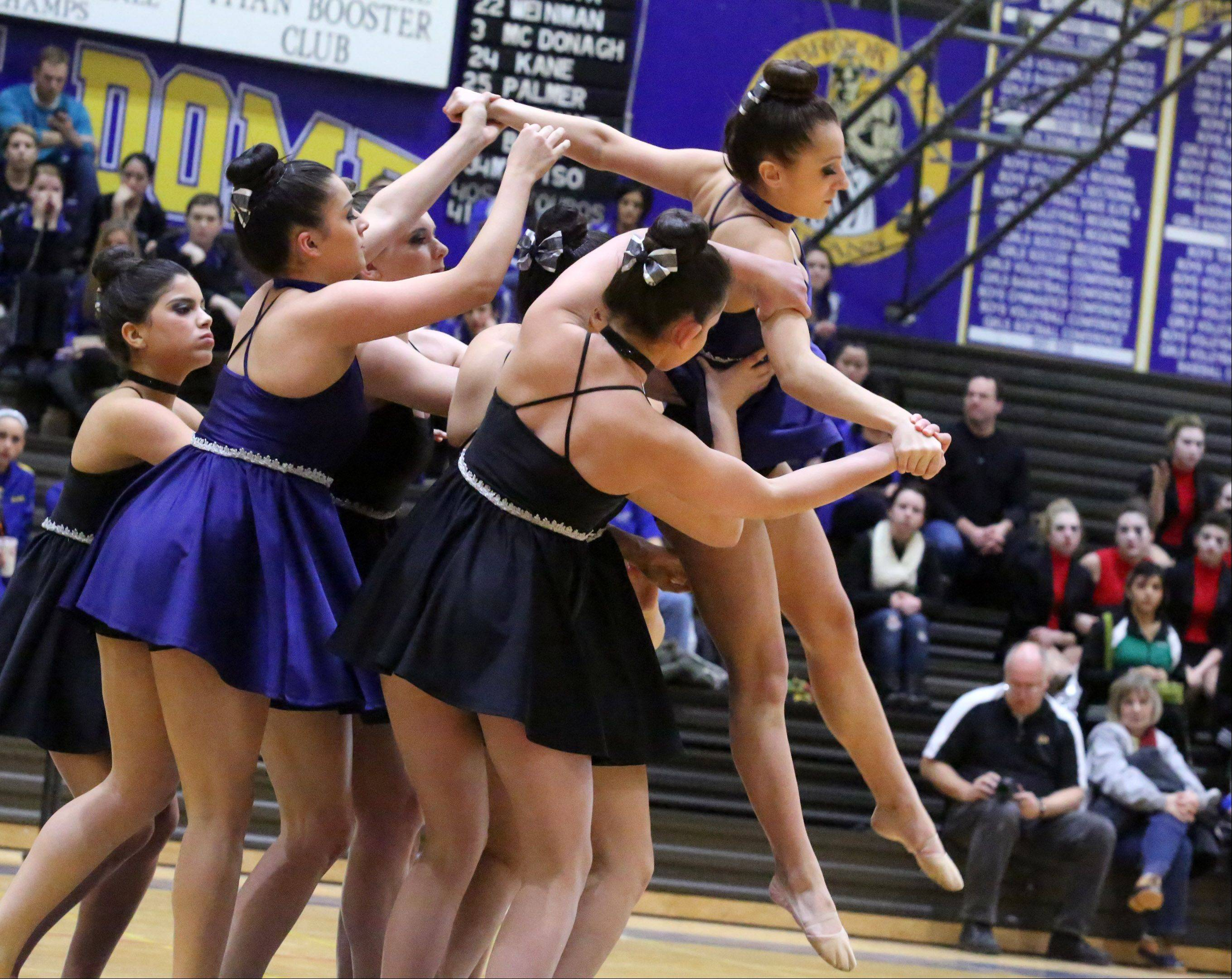 Larkin High School's dance team competes at the IHSA competitive dance sectional at Glenbrook South High School on Saturday in Glenview.