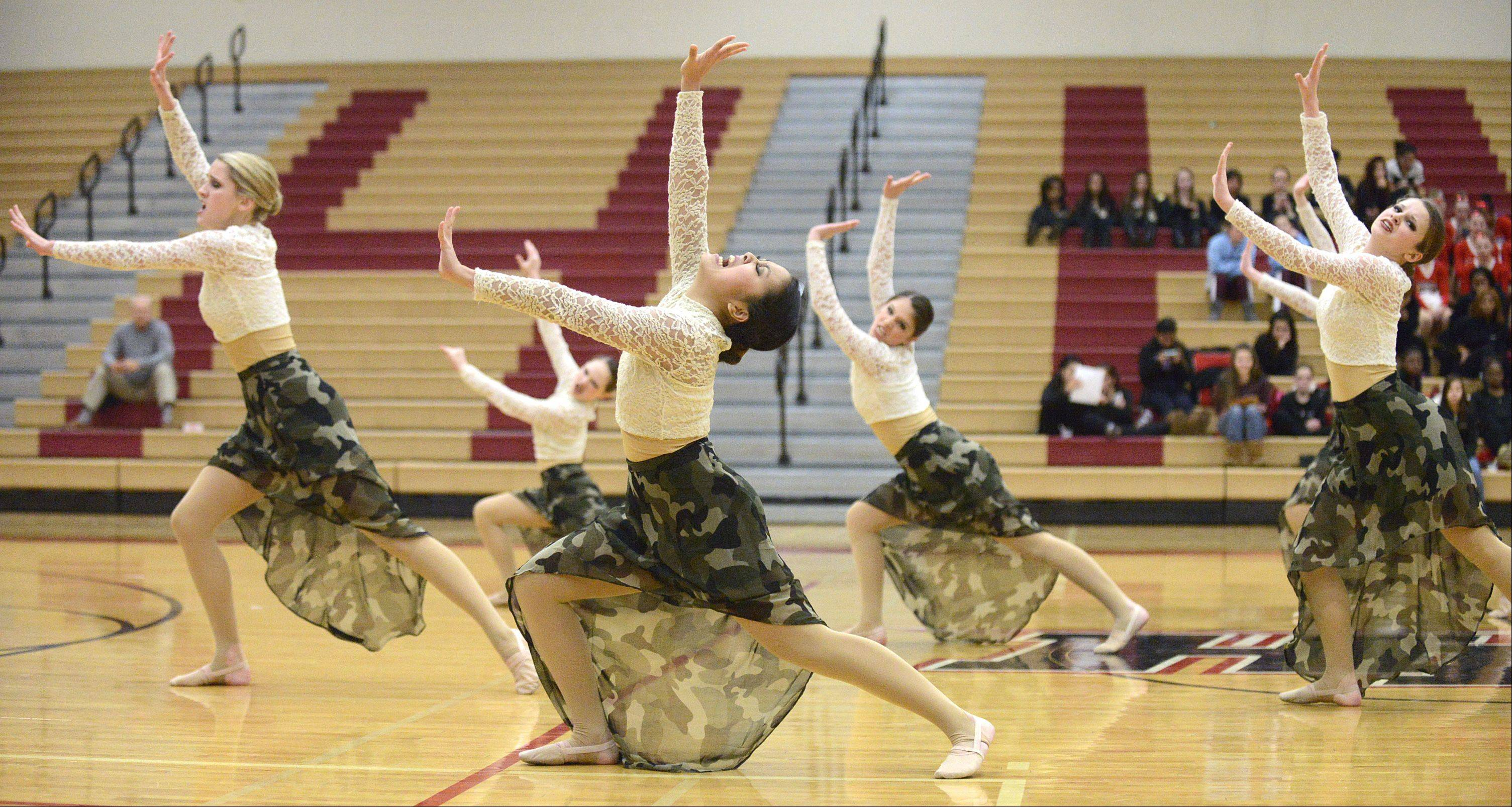 Mundelein High School performs at the IHSA 3A competitive dance sectionals at Huntley High School on Saturday.