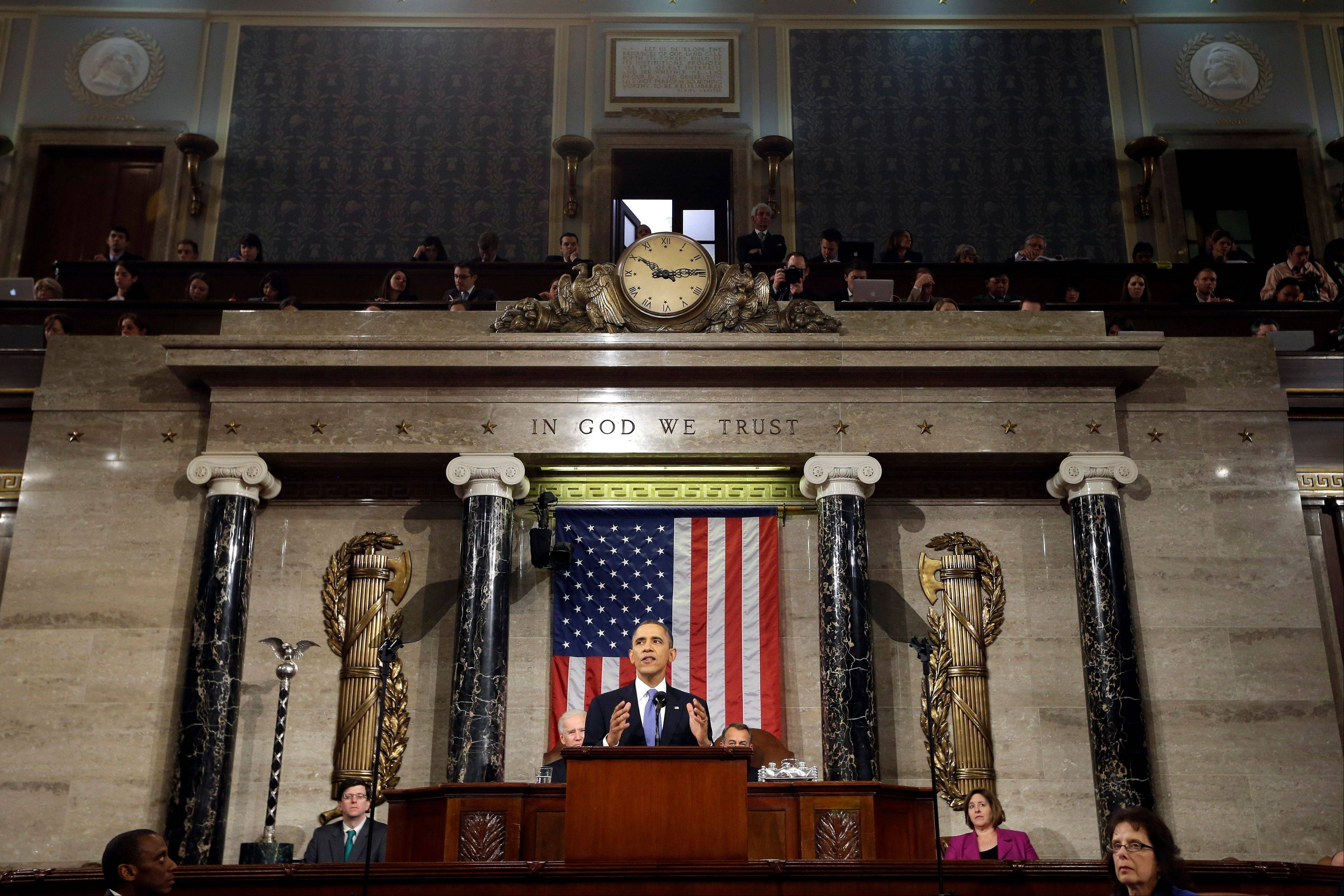 President Barack Obama gives his State of the Union address during a joint session of Congress on Capitol Hill in Washington.