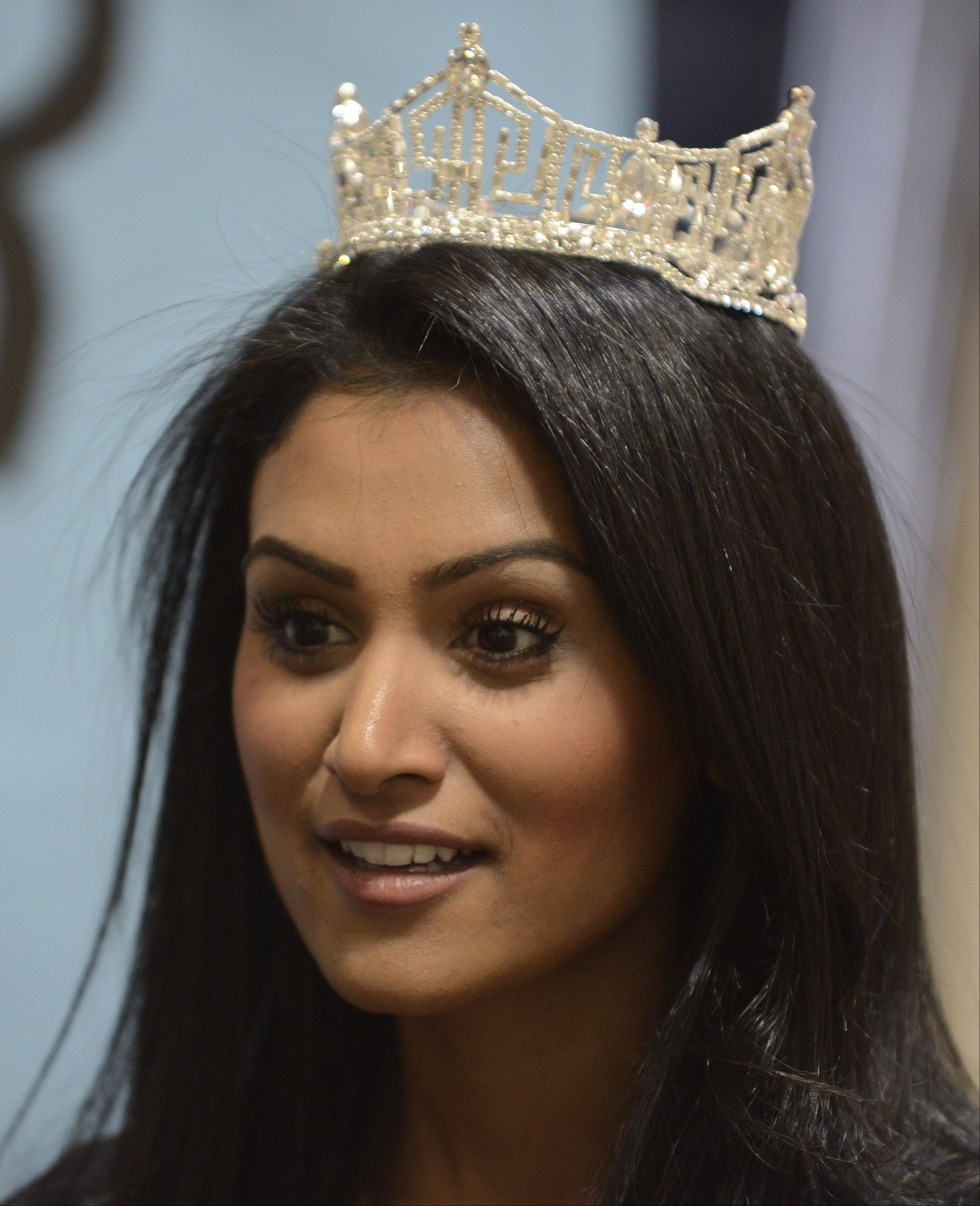 Nina Davuluri, Miss America 2014, visits the Stevenson High School World's Fair event Saturday in Lincolnshire.