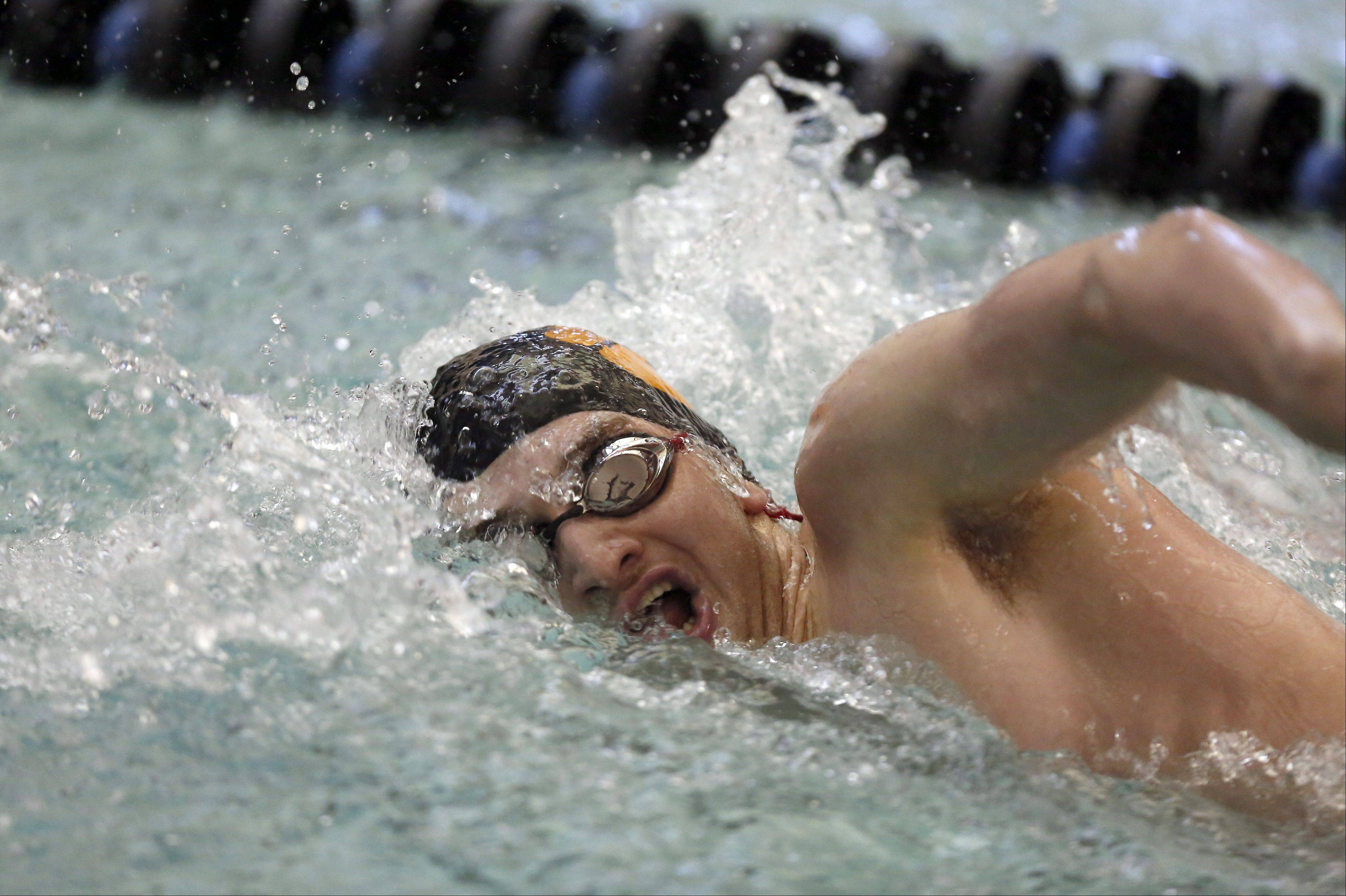 LIbertyville's Pat King swims in the 200 yard freestyle during St. Charles North 12th Annual Varsity swimming invite Saturday in St. Charles.