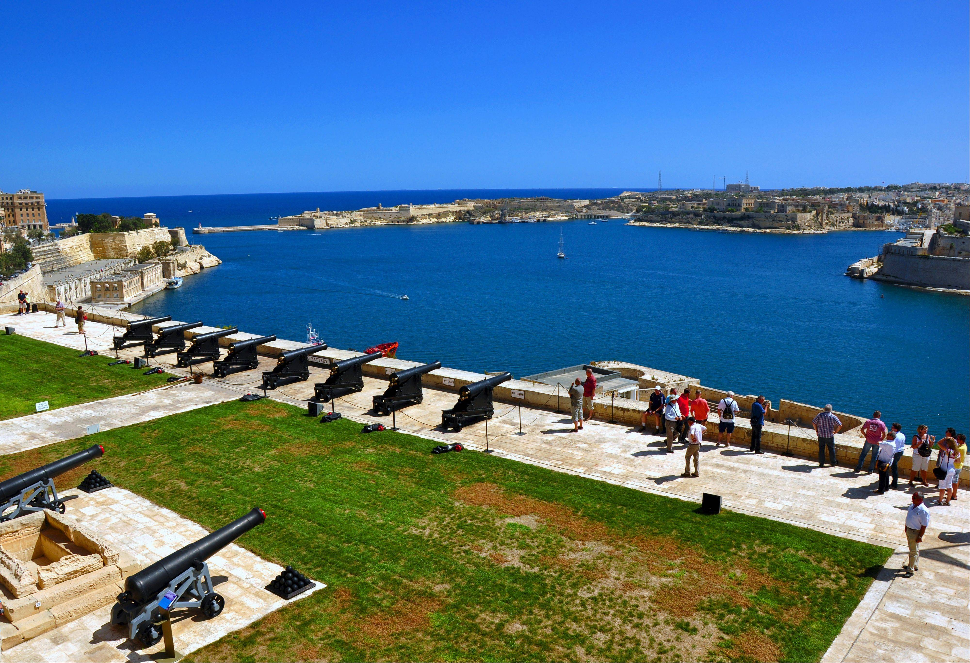 The Upper Barracca Gardens in Valletta overlook the Grand Harbor. Malta successfully fought off attackers in two sieges, one in 1565 and another during World War II.