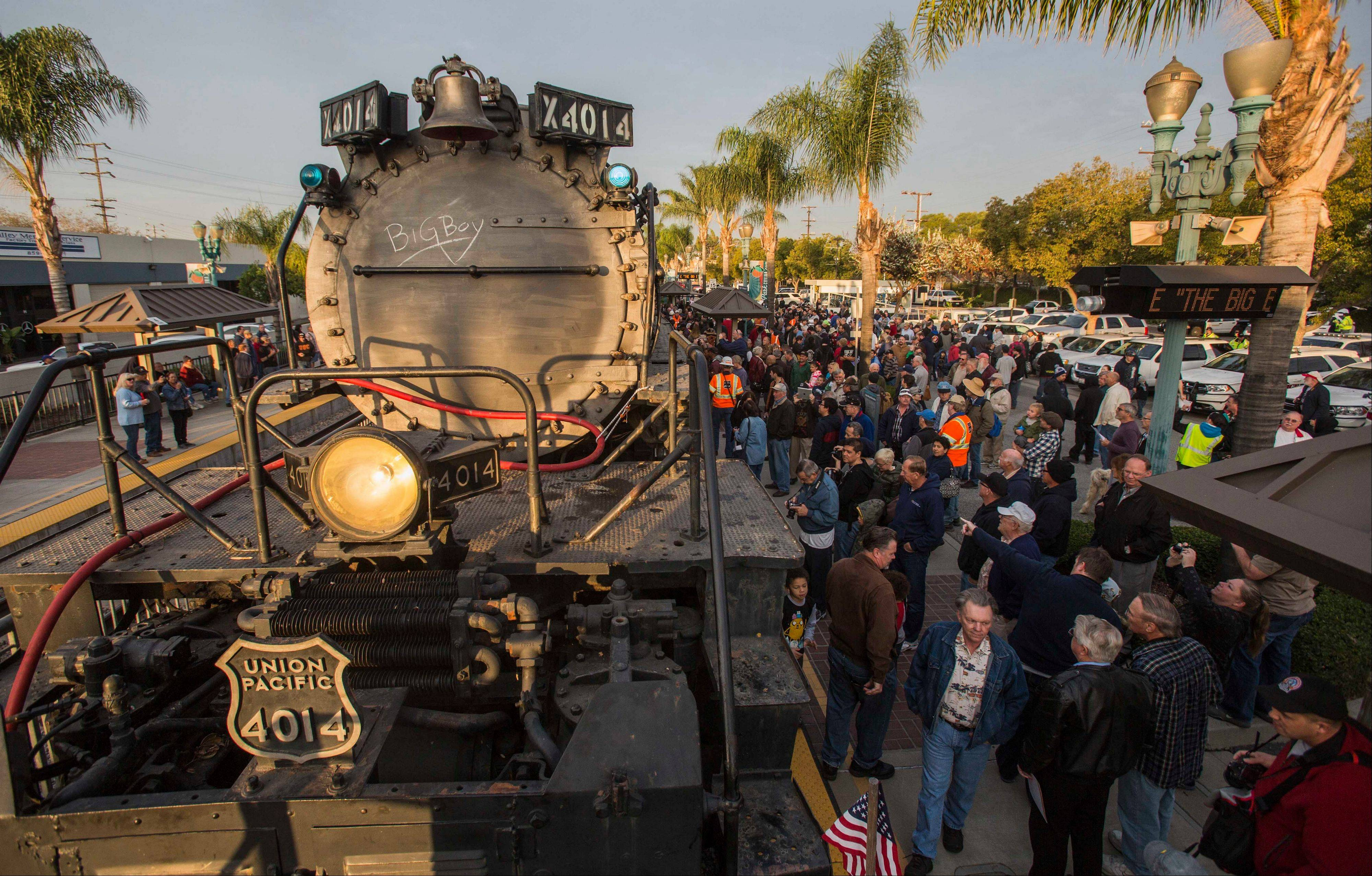 Spectators view the historic 600-ton locomotive, Union Pacific Big Boy No. 4014, Sunday in Covina, Calif.