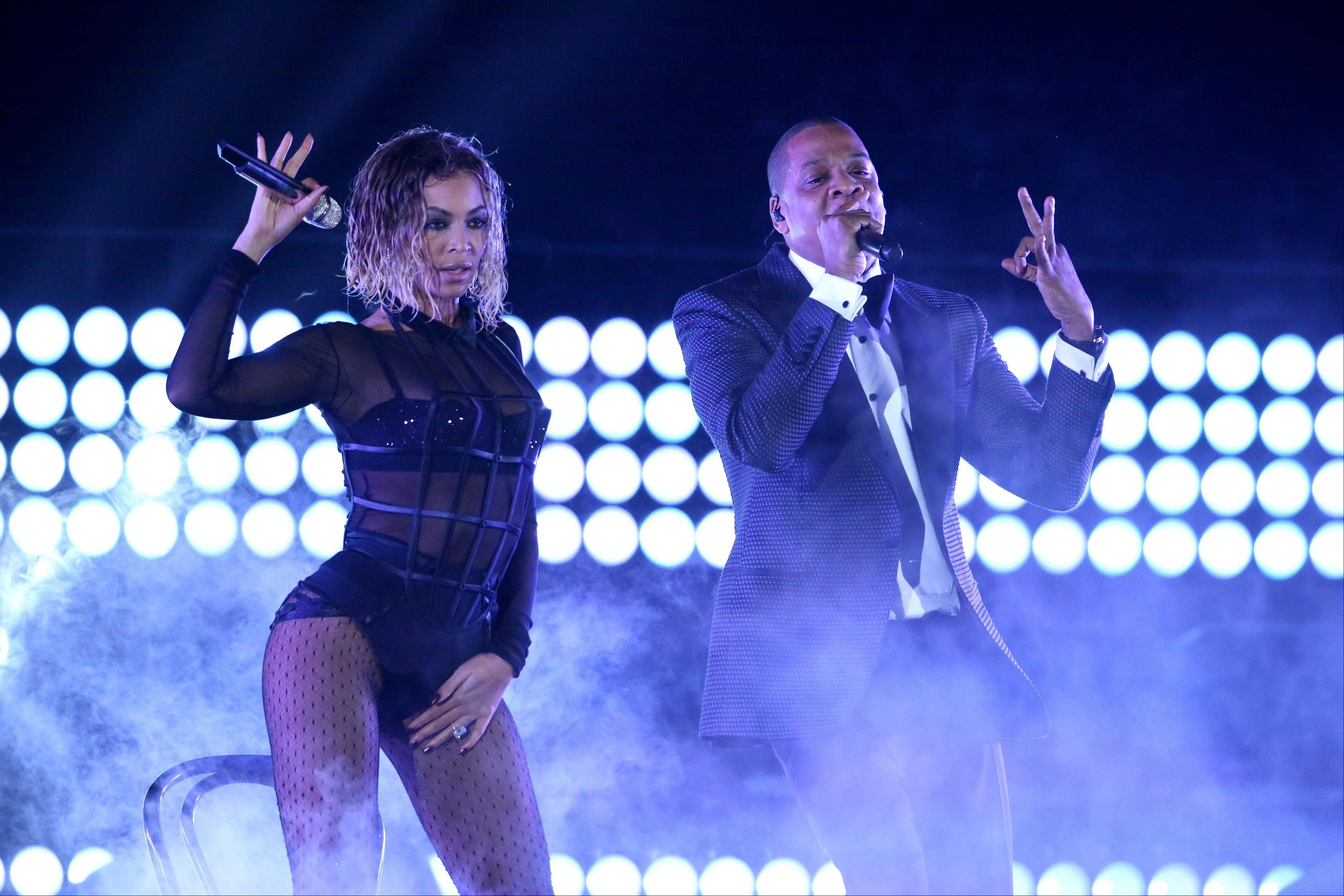 "Beyonce, left, and Jay-Z perform ""Drunk in Love"" at the 56th annual Grammy Awards at Staples Center on Sunday in Los Angeles."