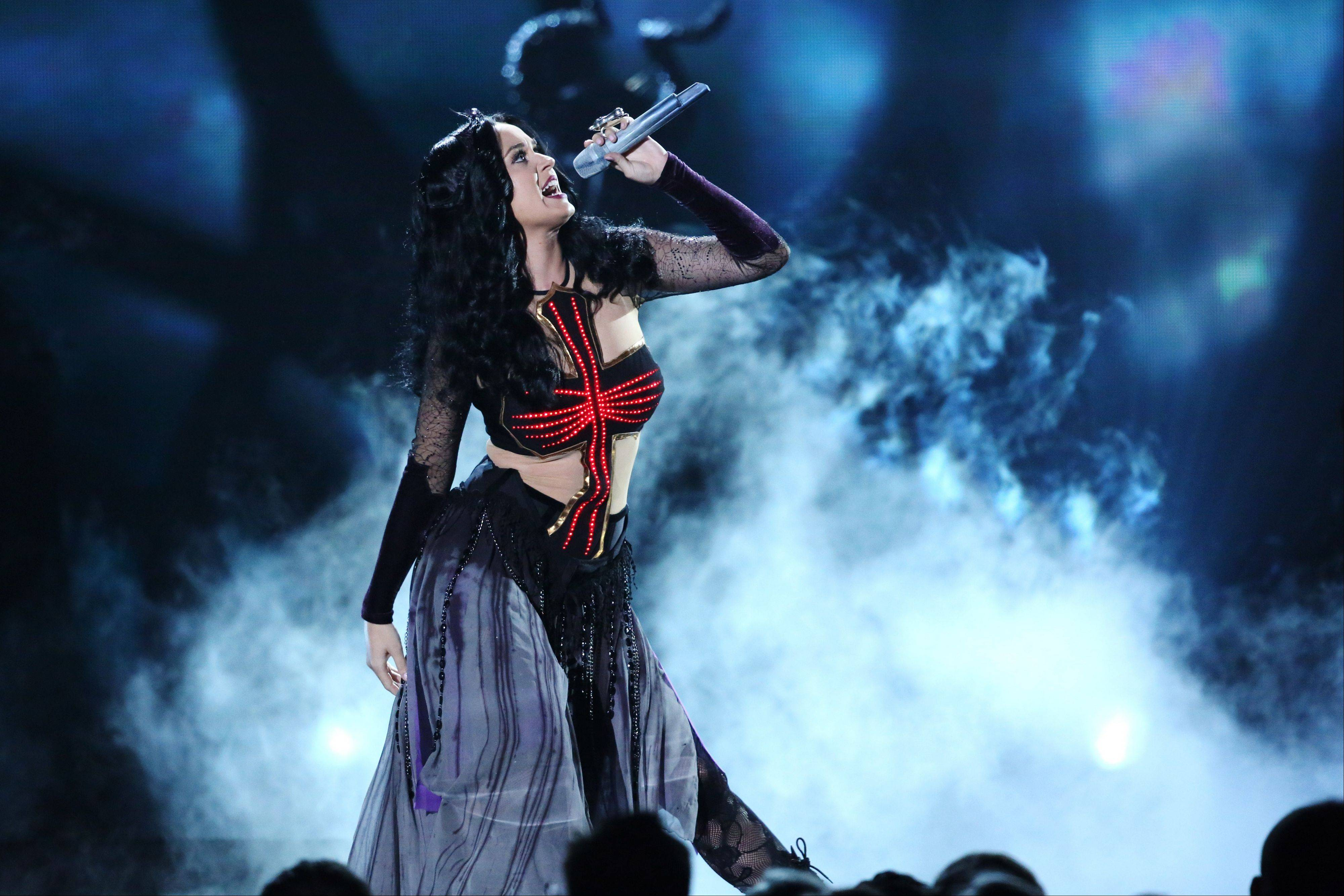 "Katy Perry performs ""Dark Horse"" at the 56th annual Grammy Awards at Staples Center on Sunday in Los Angeles."