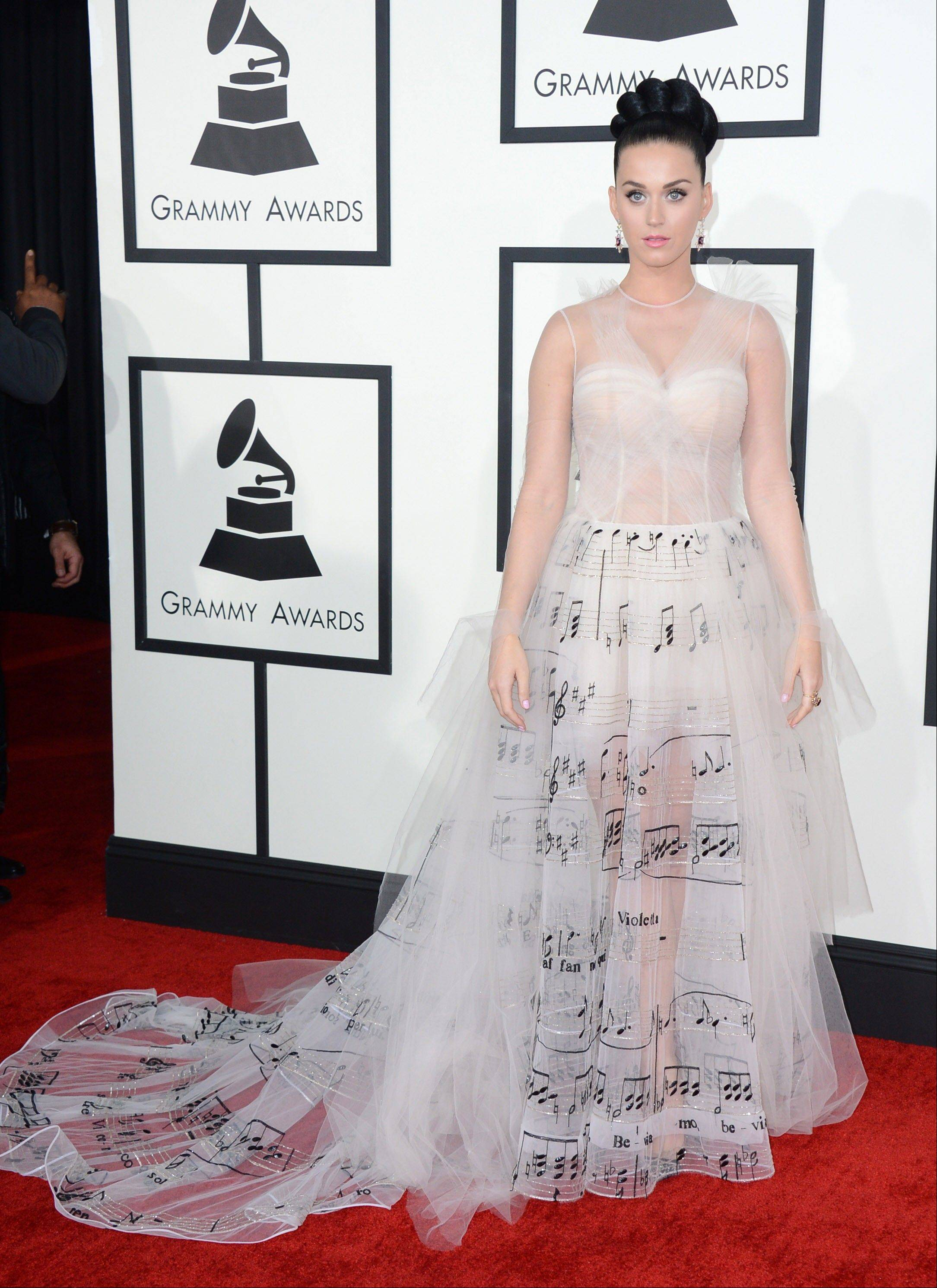 Katy Perry arrives at the 56th annual Grammy Awards at Staples Center on Sunday.