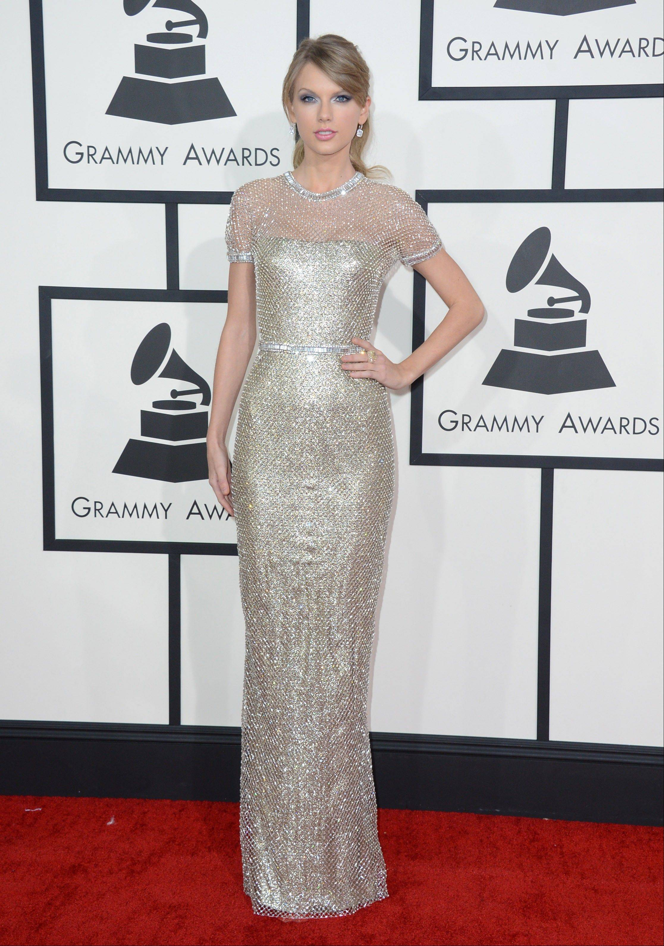 Taylor Swift arrives at the 56th annual Grammy Awards at Staples Center on Sunday.