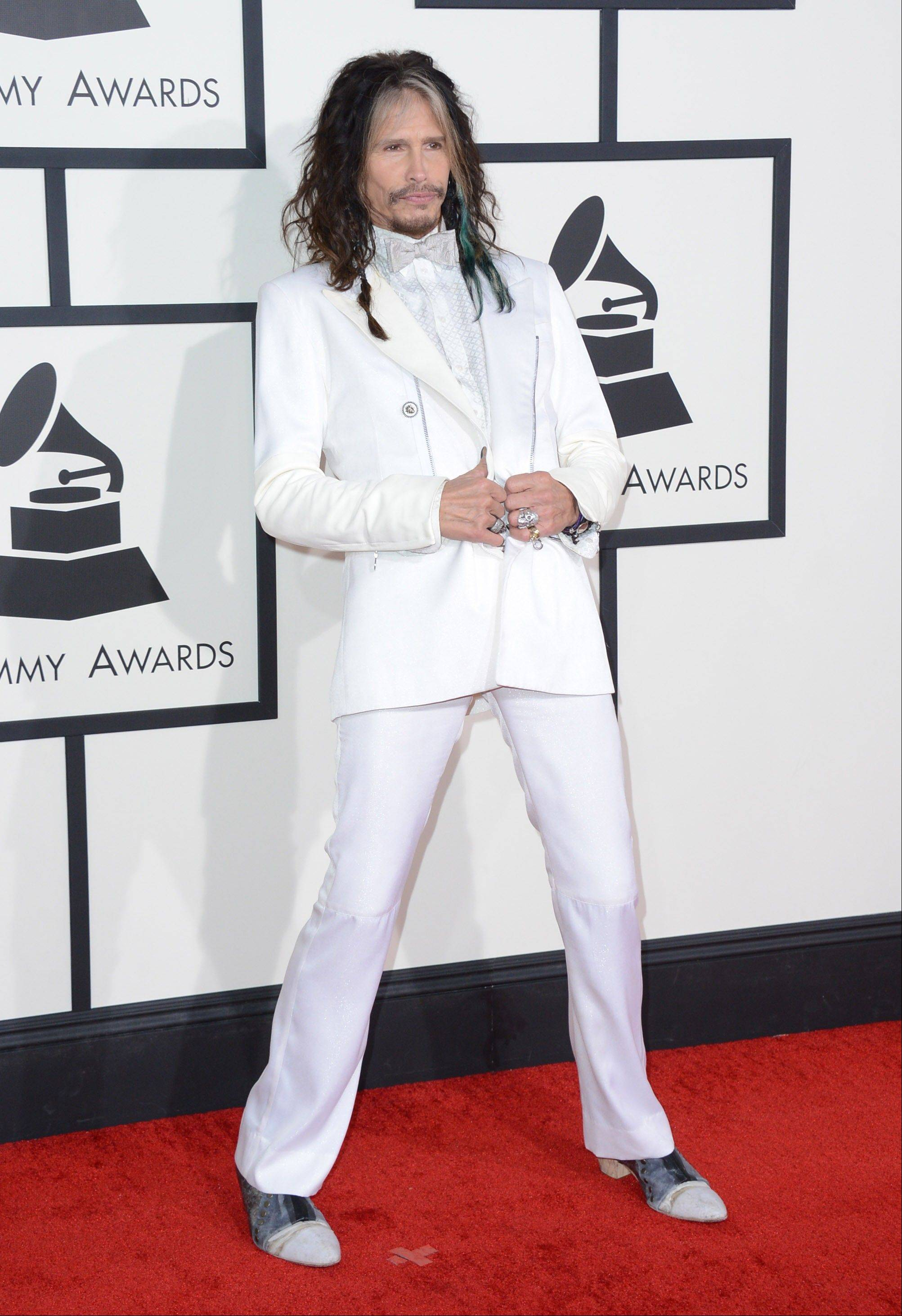 Steven Tyler arrives at the 56th annual Grammy Awards at Staples Center on Sunday.