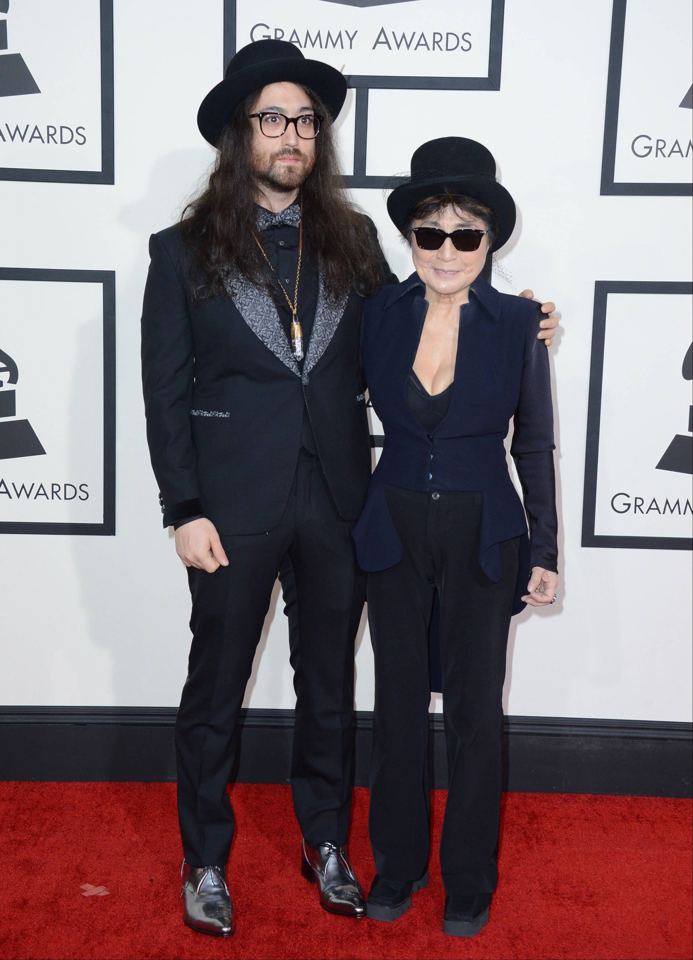 Sean Lennon, left, and Yoko Ono arrive at the 56th annual Grammy Awards at Staples Center on Sunday in Los Angeles.