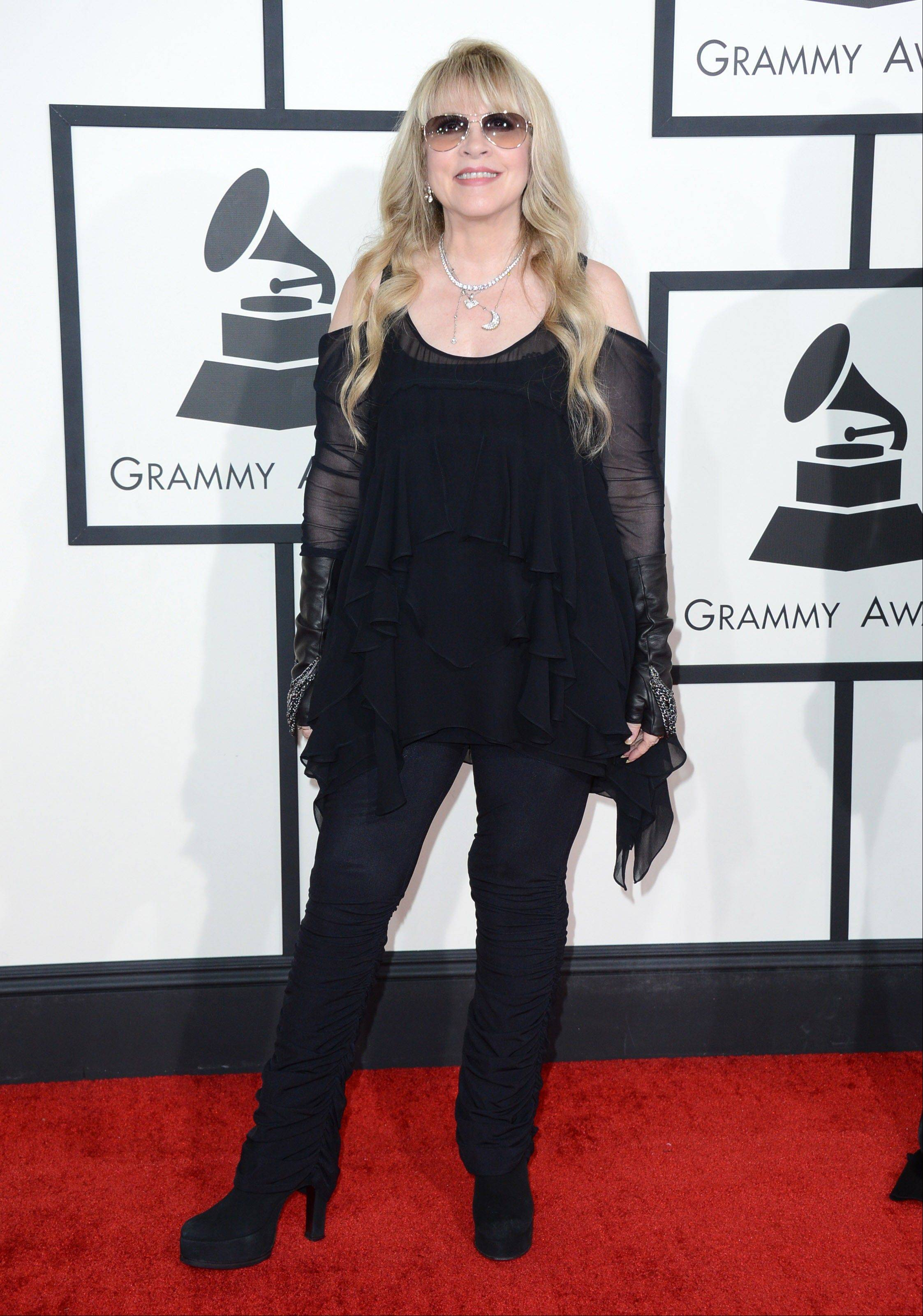 Stevie Nicks arrives at the 56th annual Grammy Awards at Staples Center on Sunday.