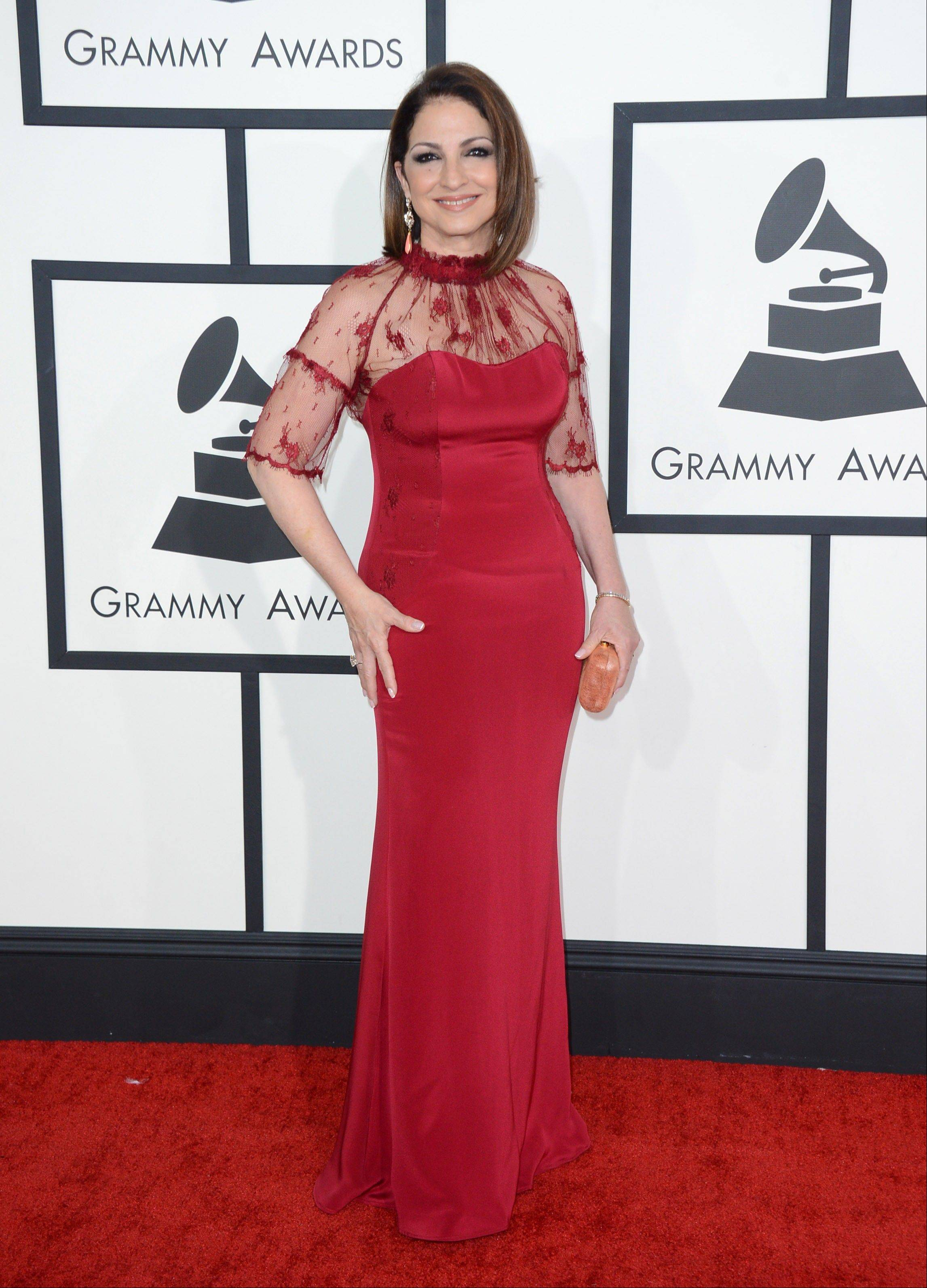 Gloria Estefan arrives at the 56th annual Grammy Awards at Staples Center on Sunday.