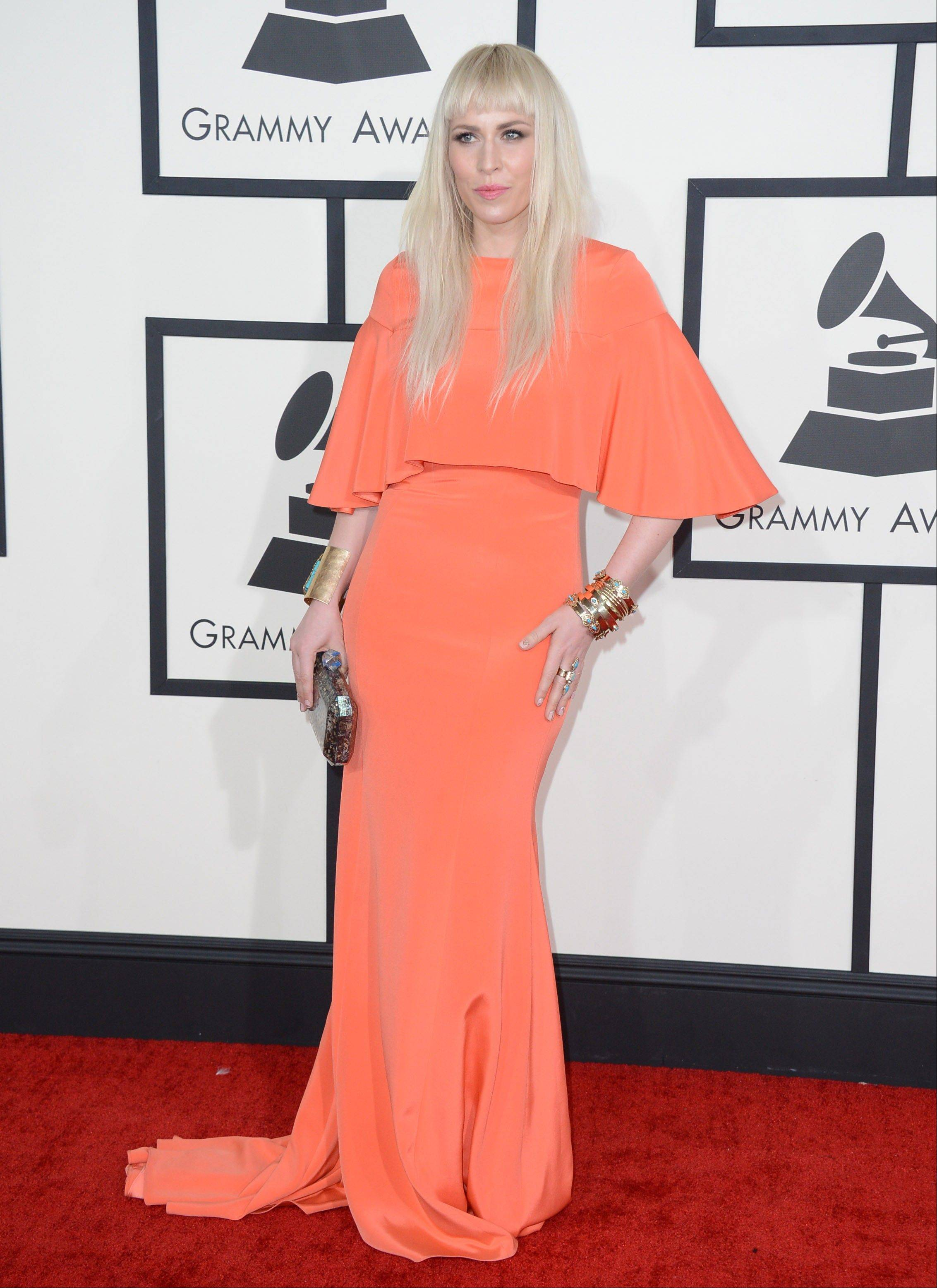 Natasha Bedingfield arrives at the 56th annual Grammy Awards at Staples Center.