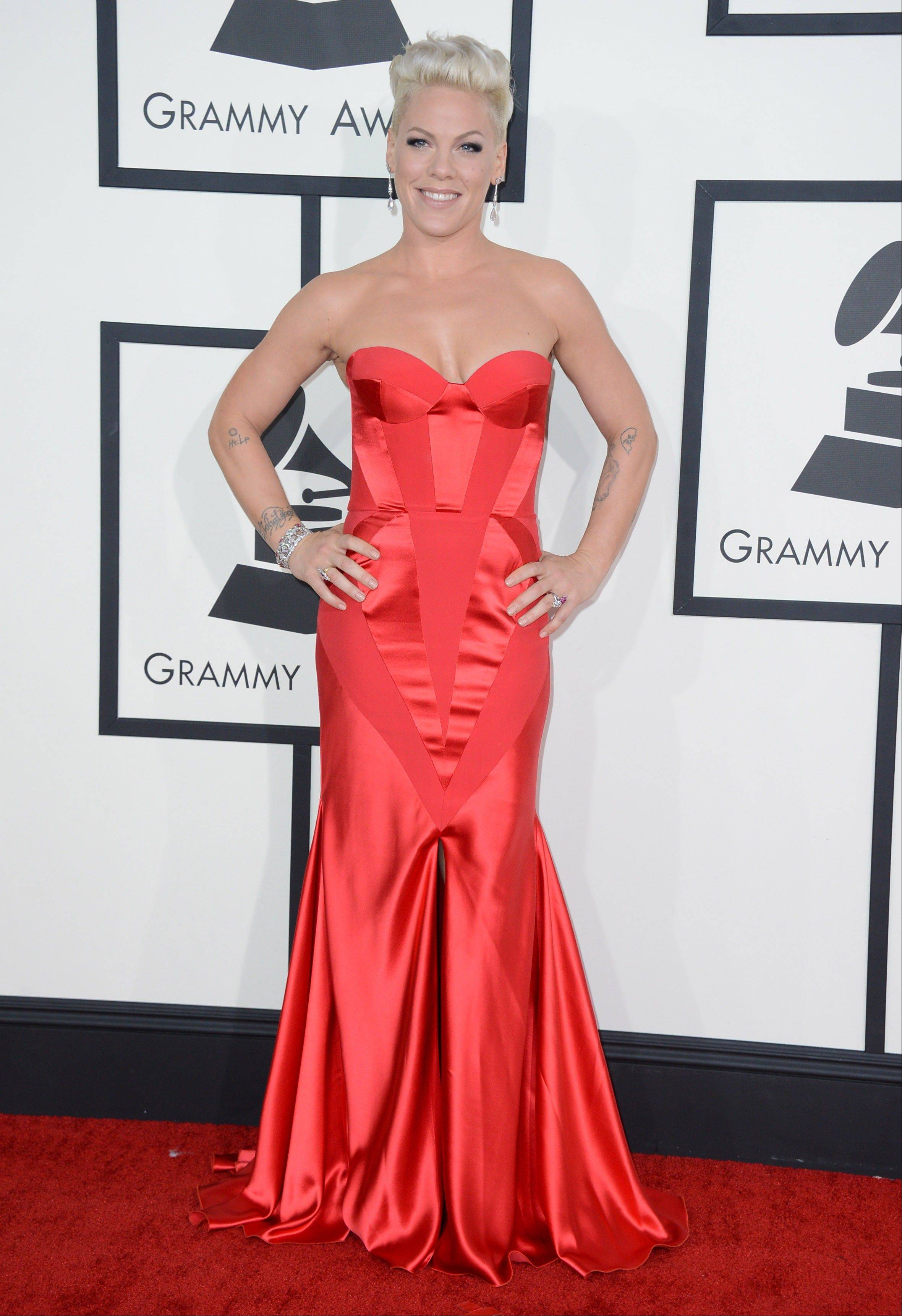 Pink arrives at the 56th annual Grammy Awards at Staples Center on Sunday.